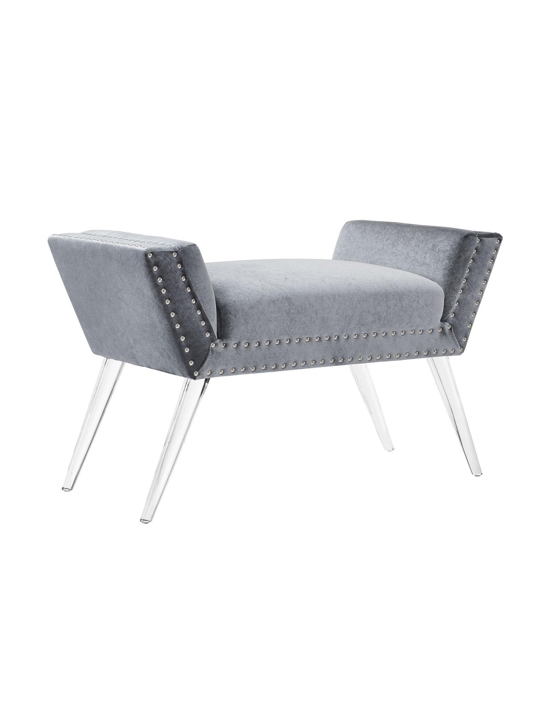 Linon Grey Ottomans & Benches Bedroom Furniture Living Room Furniture
