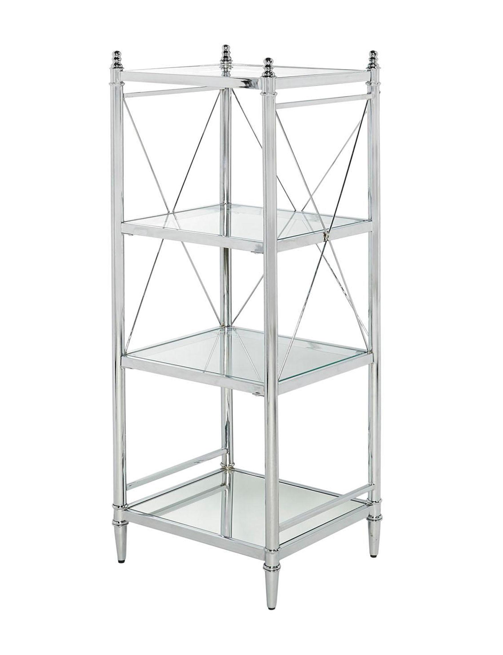 Linon Chrome Storage Shelves Bathroom Furniture