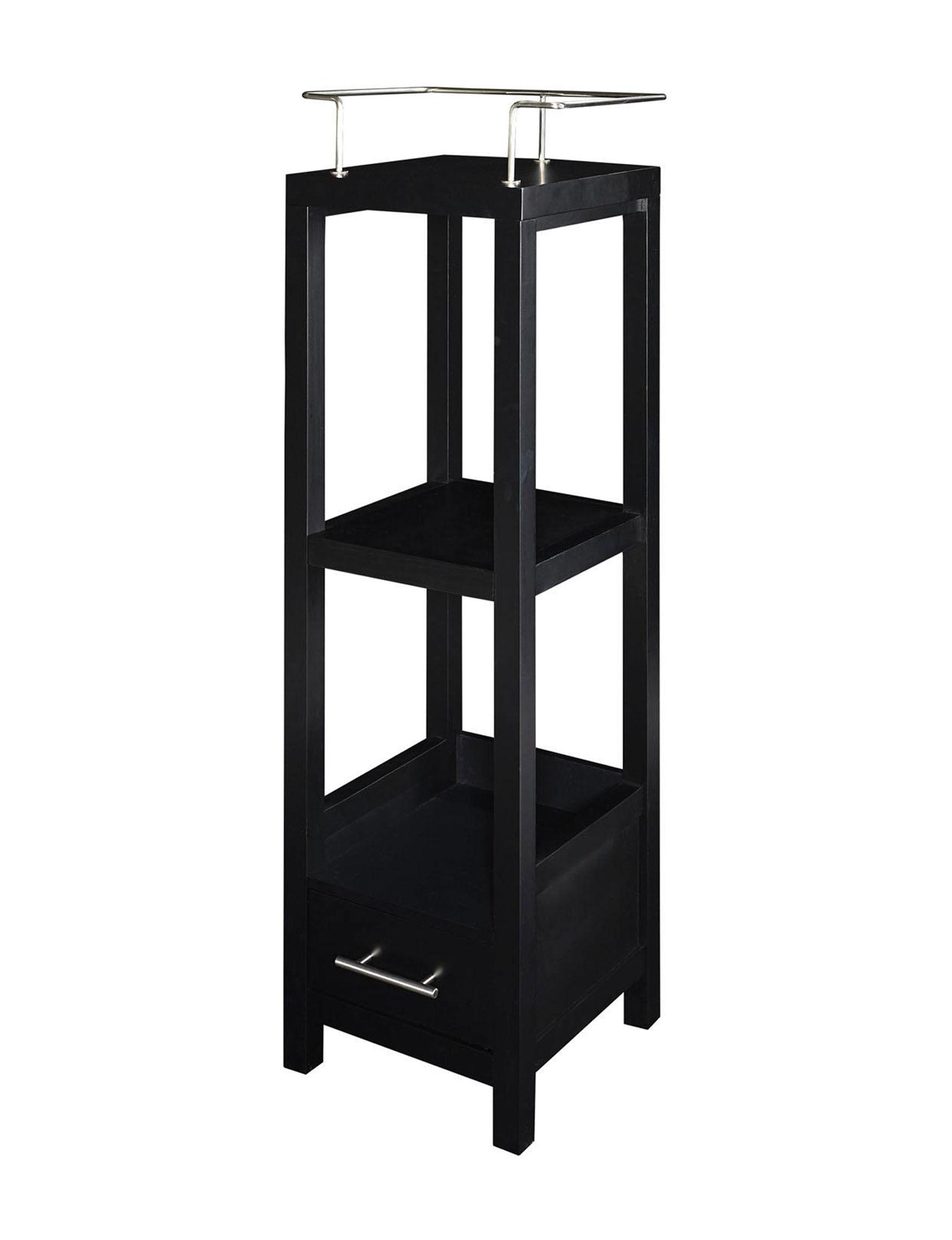 Linon Black Storage Shelves Bedroom Furniture