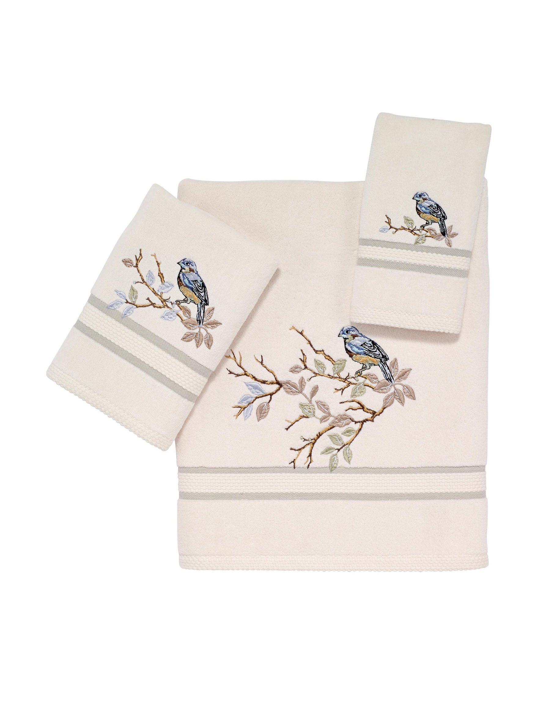 Avanti Beige / Blue Towel Sets Towels