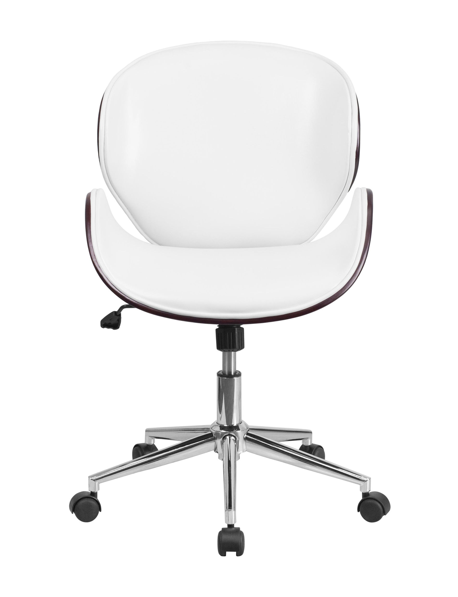 Flash Furniture White / Brown Accent Chairs Office Chairs Home Office Furniture Living Room Furniture