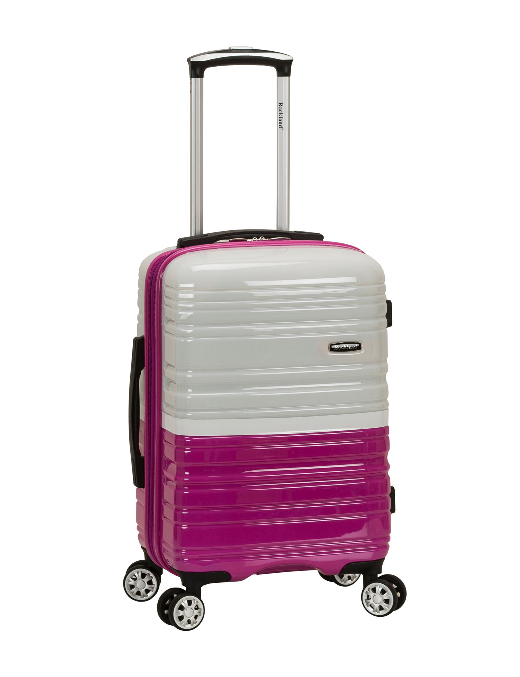 Rockland Pink / White Carry On Luggage
