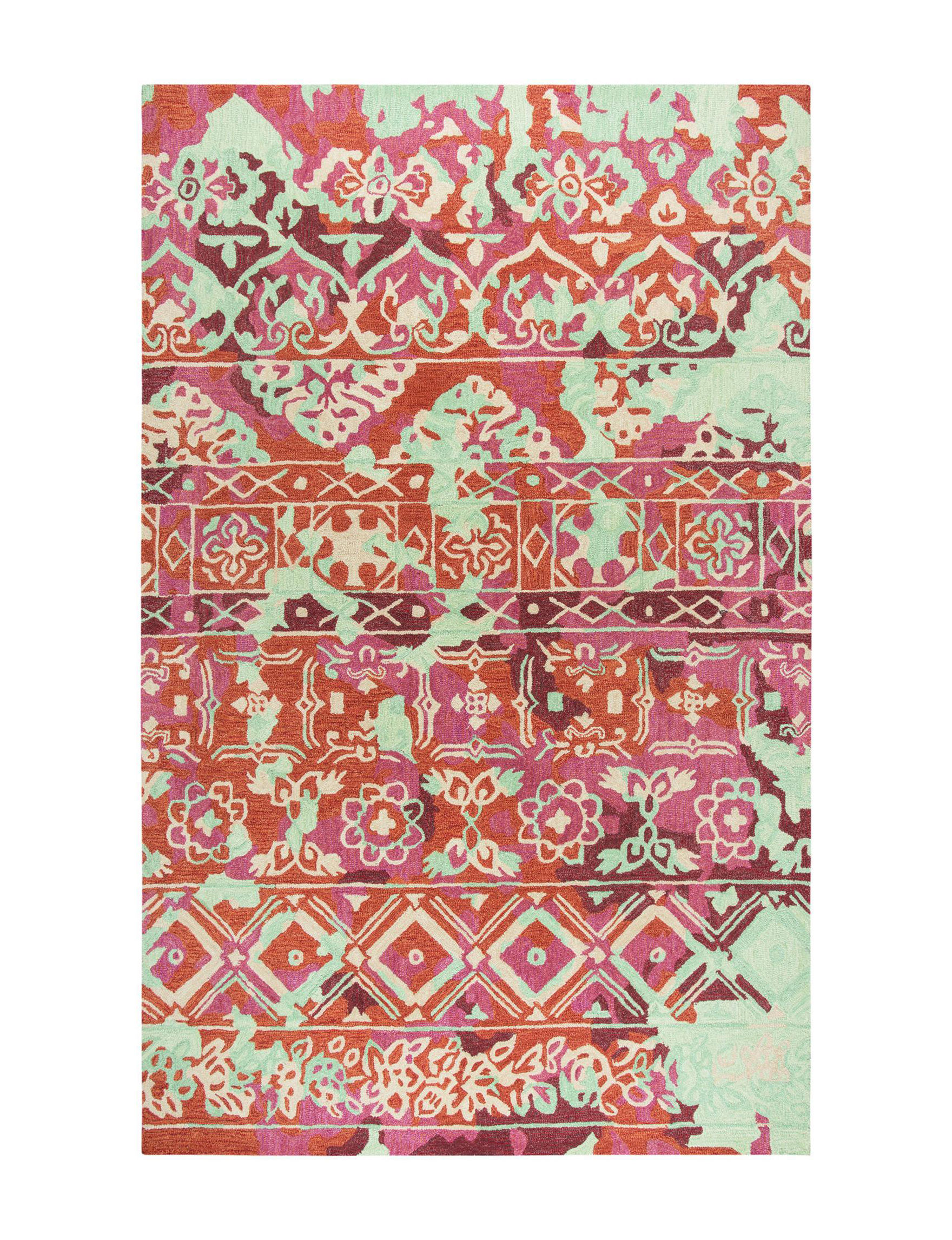 Rizzy Home Pink / Orange Area Rugs Rugs