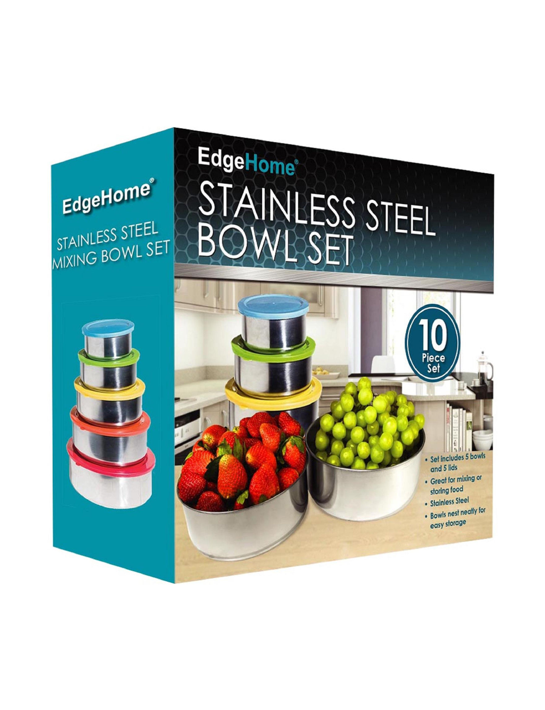 Edge Home 10-pc. Stainless Steel Mixing Bowl Set