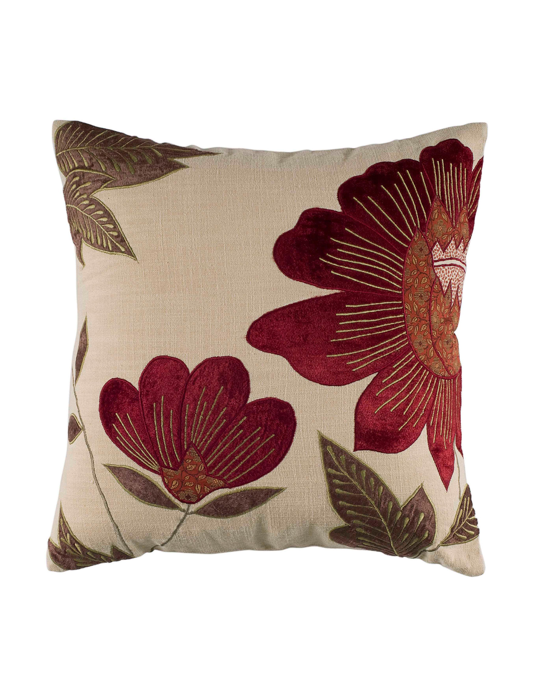 Rizzy Home Beige Floral Decorative Pillows