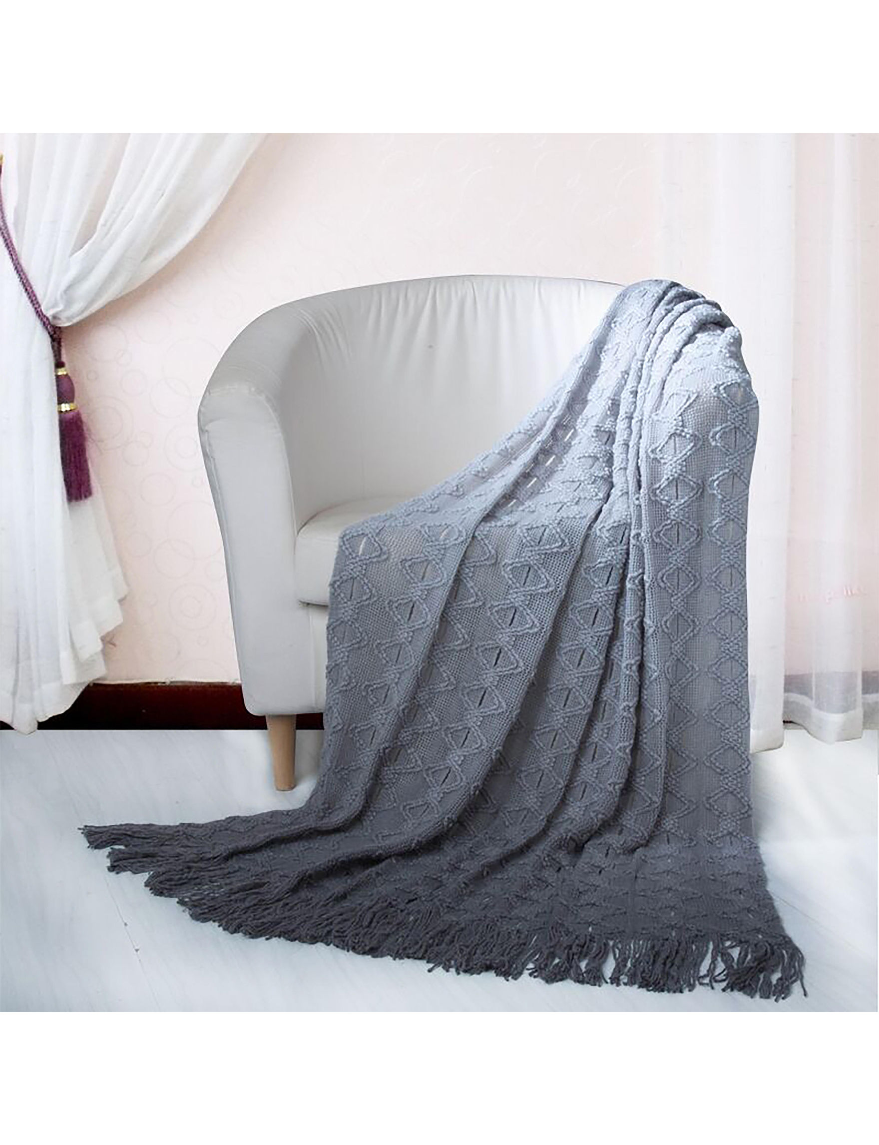 Chic Home Design Grey Blankets & Throws