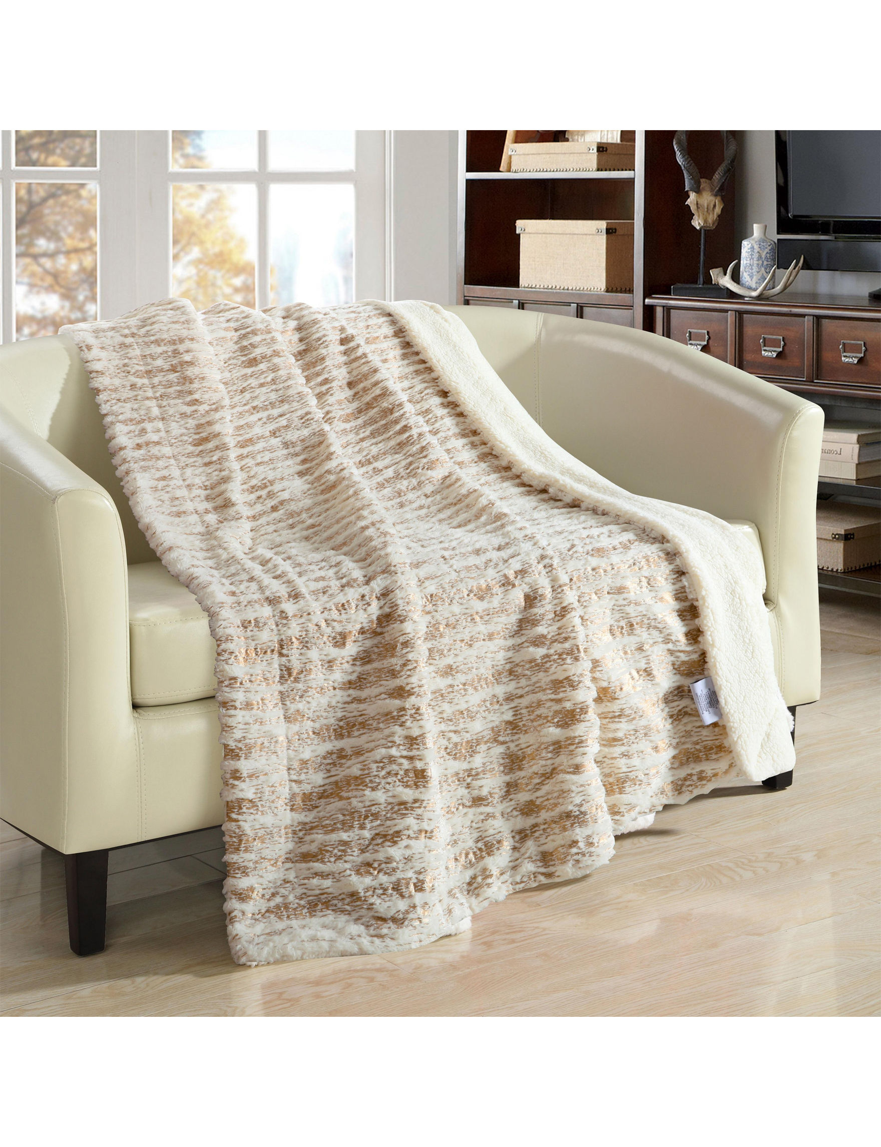 Chic Home Design Beige Blankets & Throws