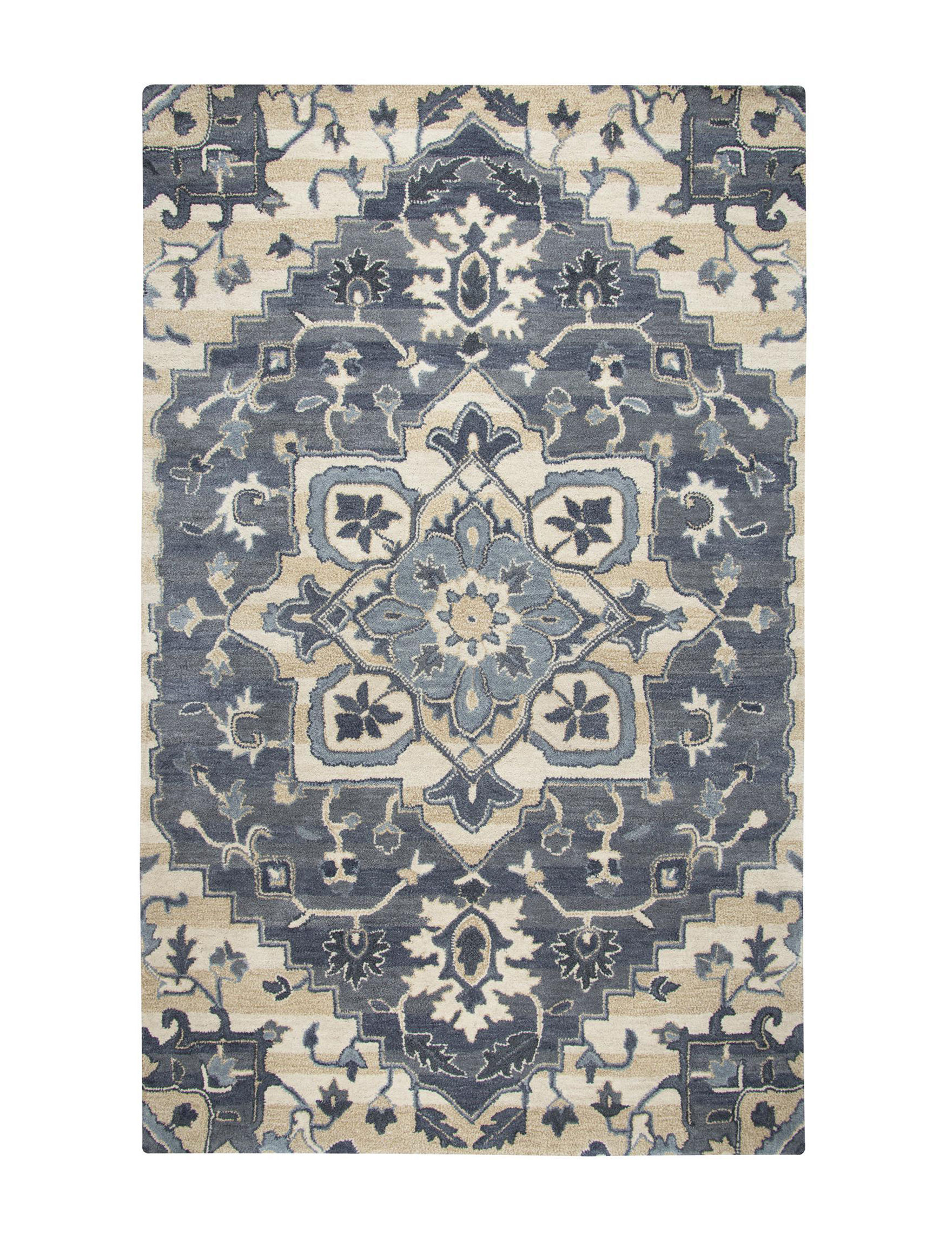 Rizzy Home Blue / Beige Area Rugs Rugs