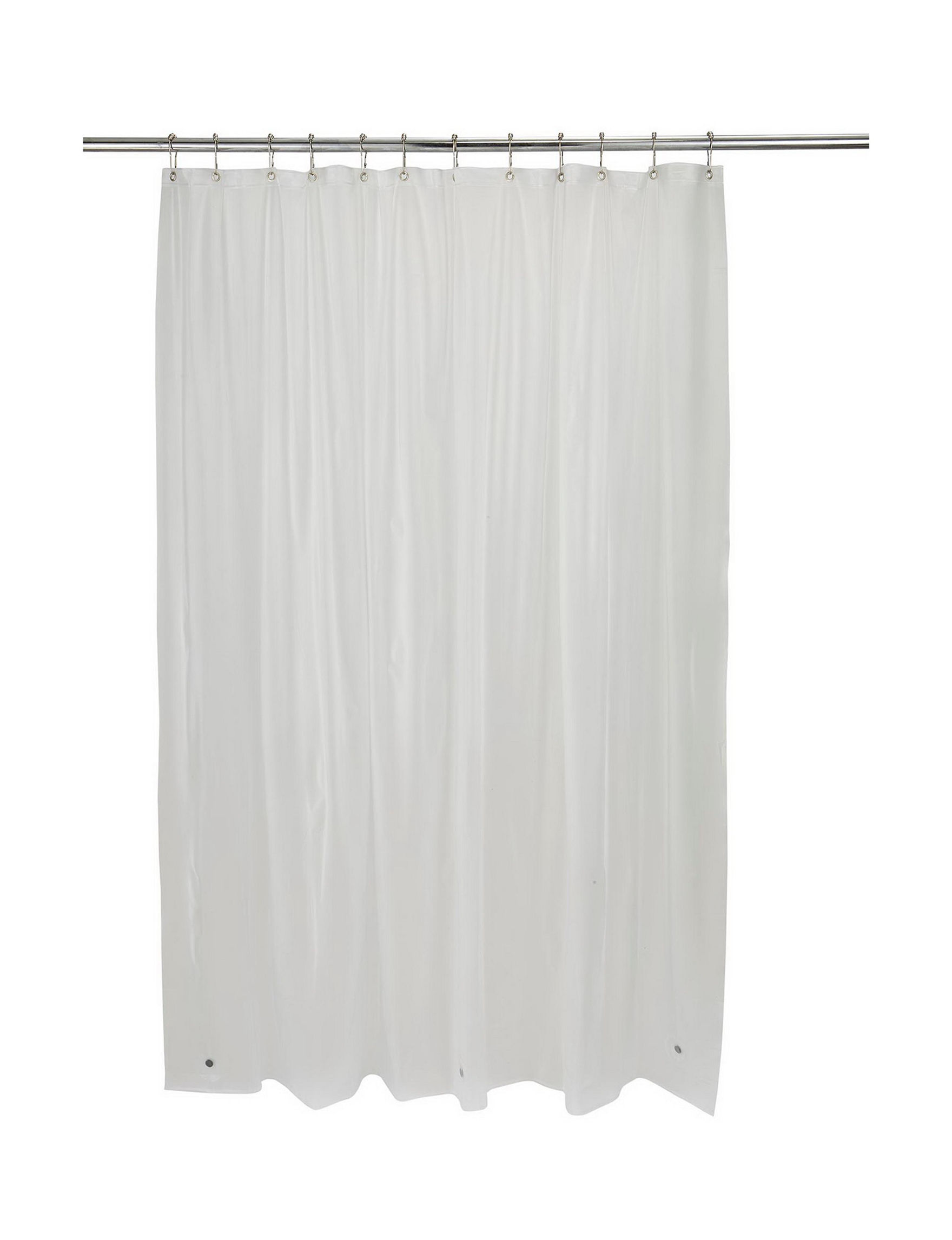 Home Details Clear Frosted Shower Curtains & Hooks