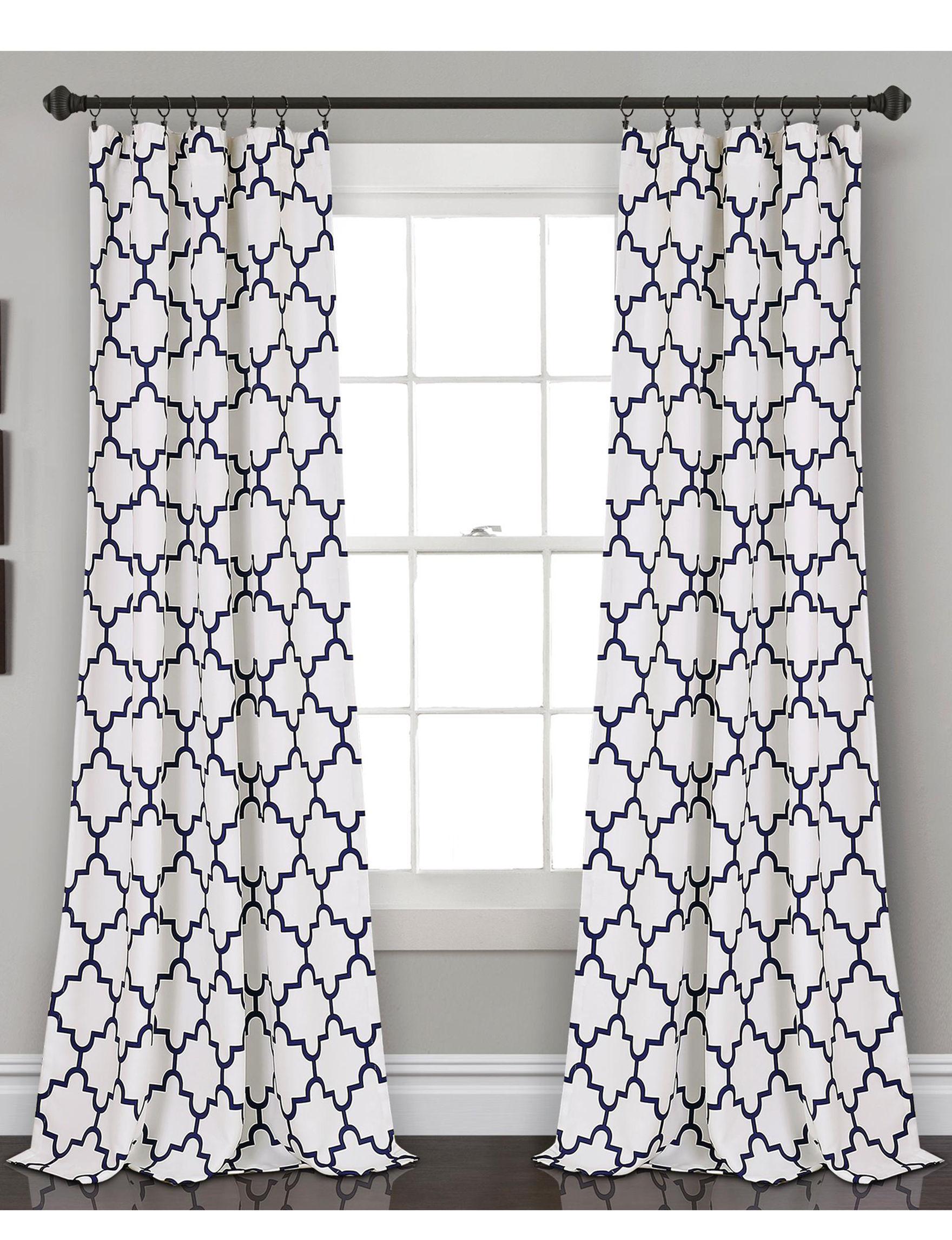 Lush Decor White / Navy Curtains & Drapes Window Treatments