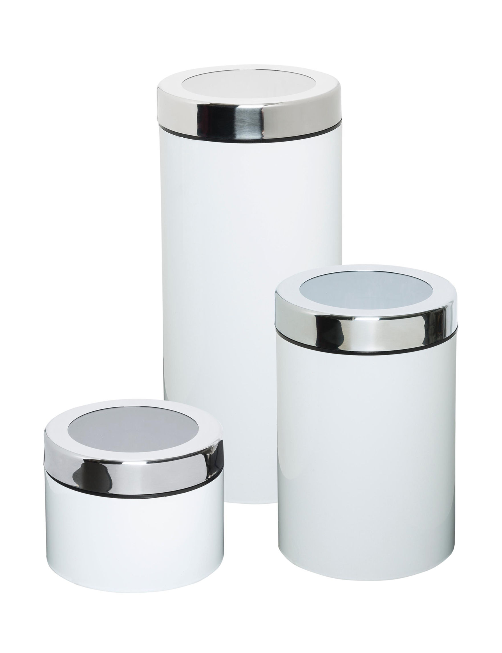 Honey-Can-Do International White Canister Sets Kitchen Storage & Organization