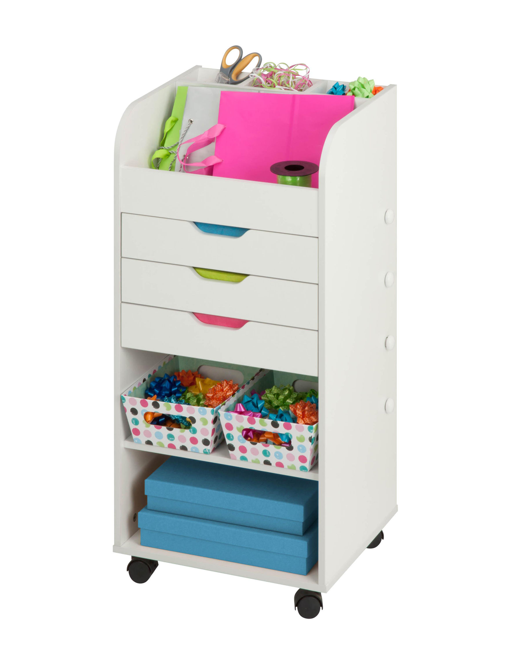 Honey-Can-Do International White Carts & Drawers Storage & Organization
