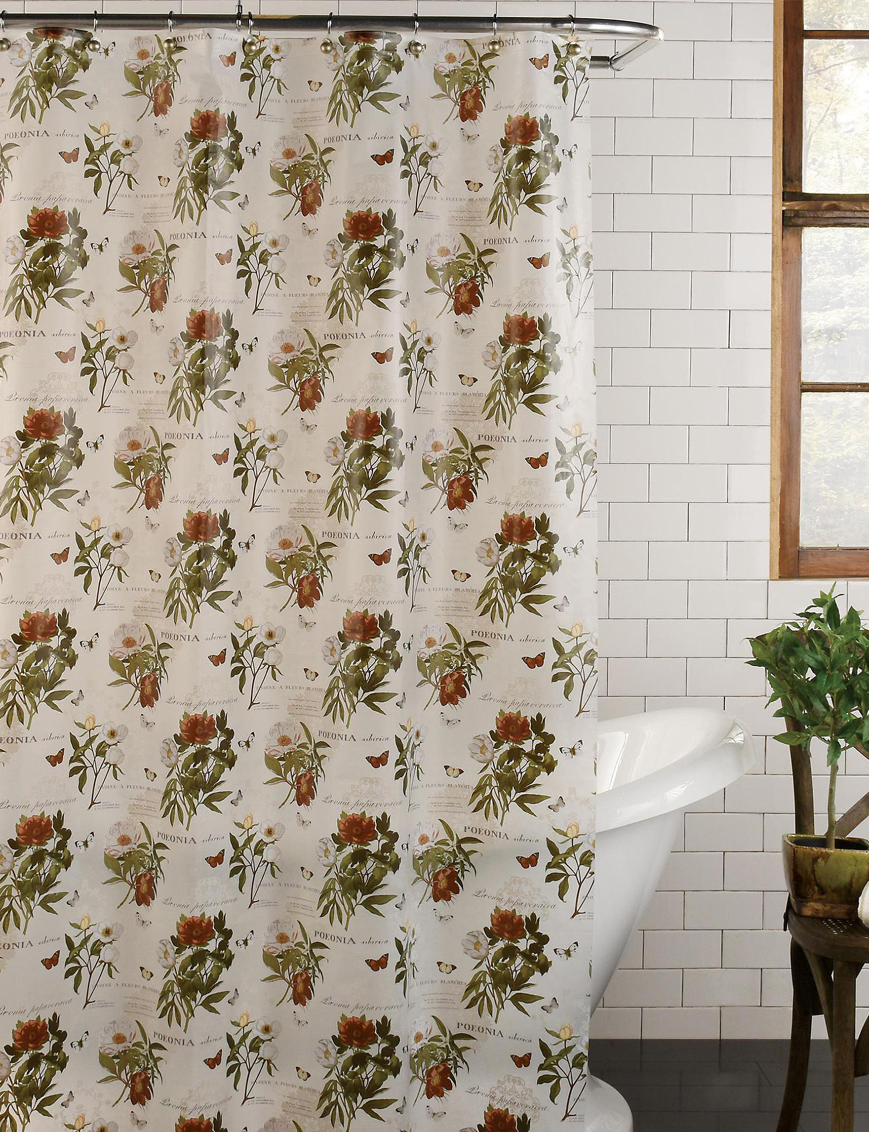 Excell Brown / Beige Shower Curtains & Hooks