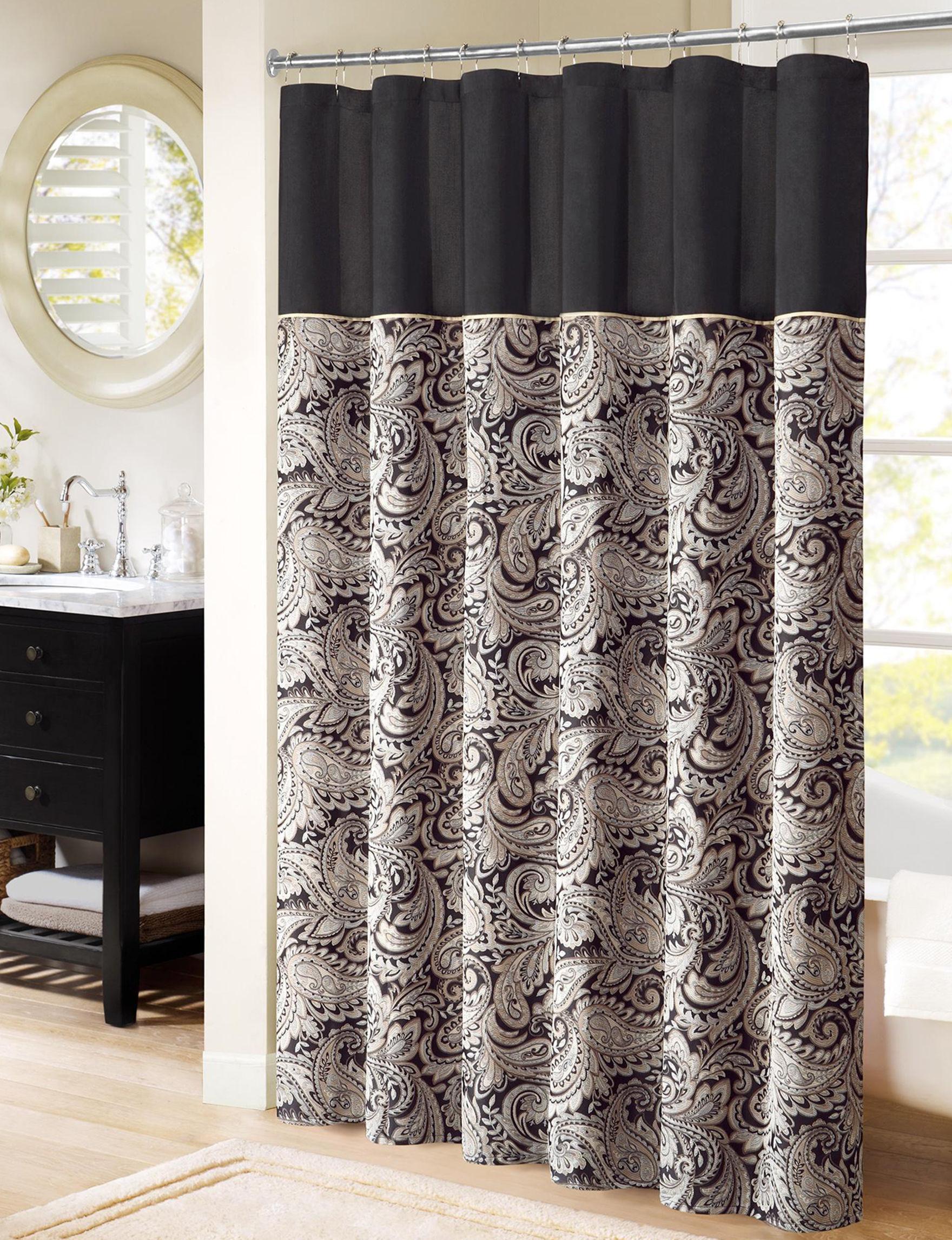 Madison Park Black Shower Curtains & Hooks
