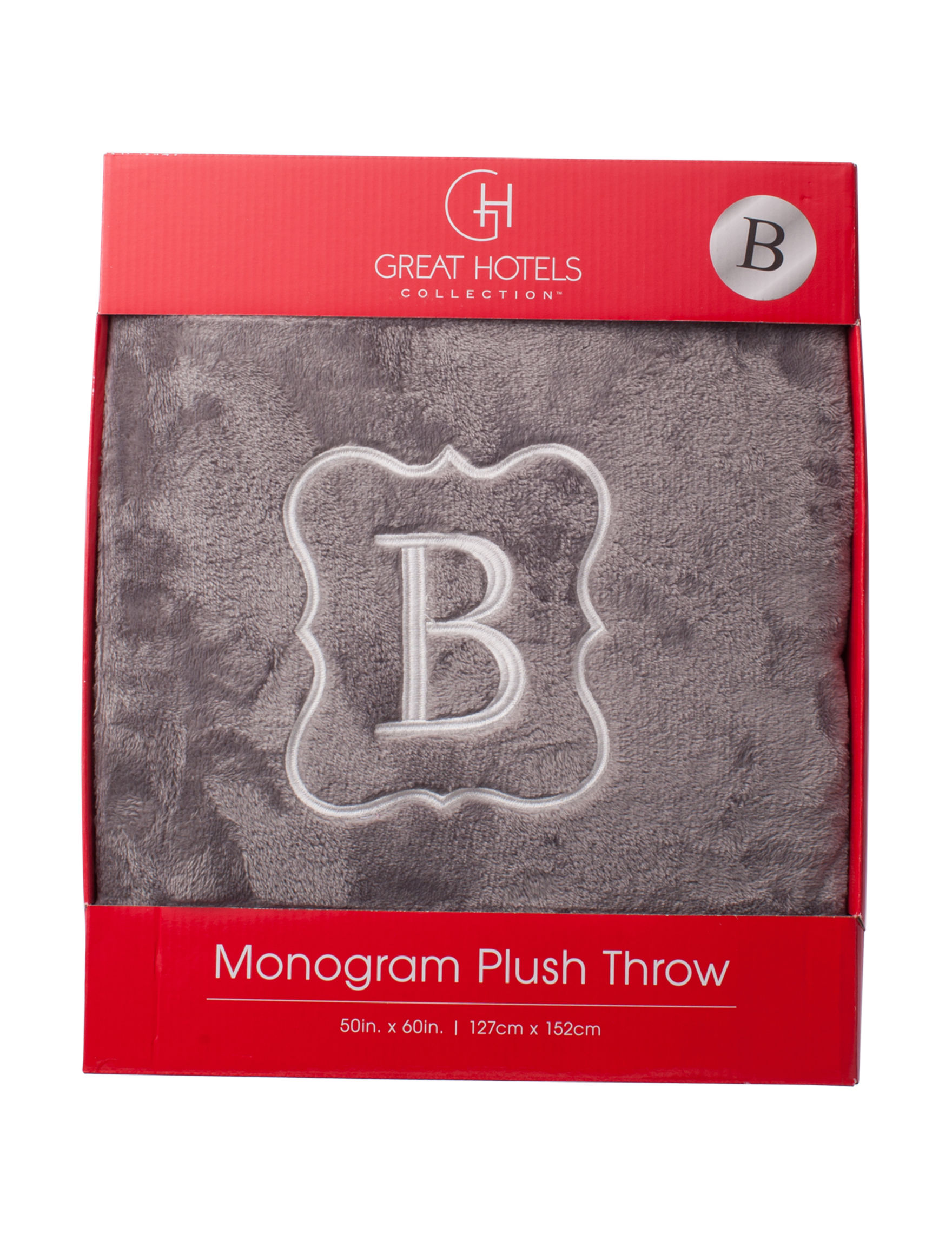 Great Hotels Collection Grey Monogram Blankets & Throws