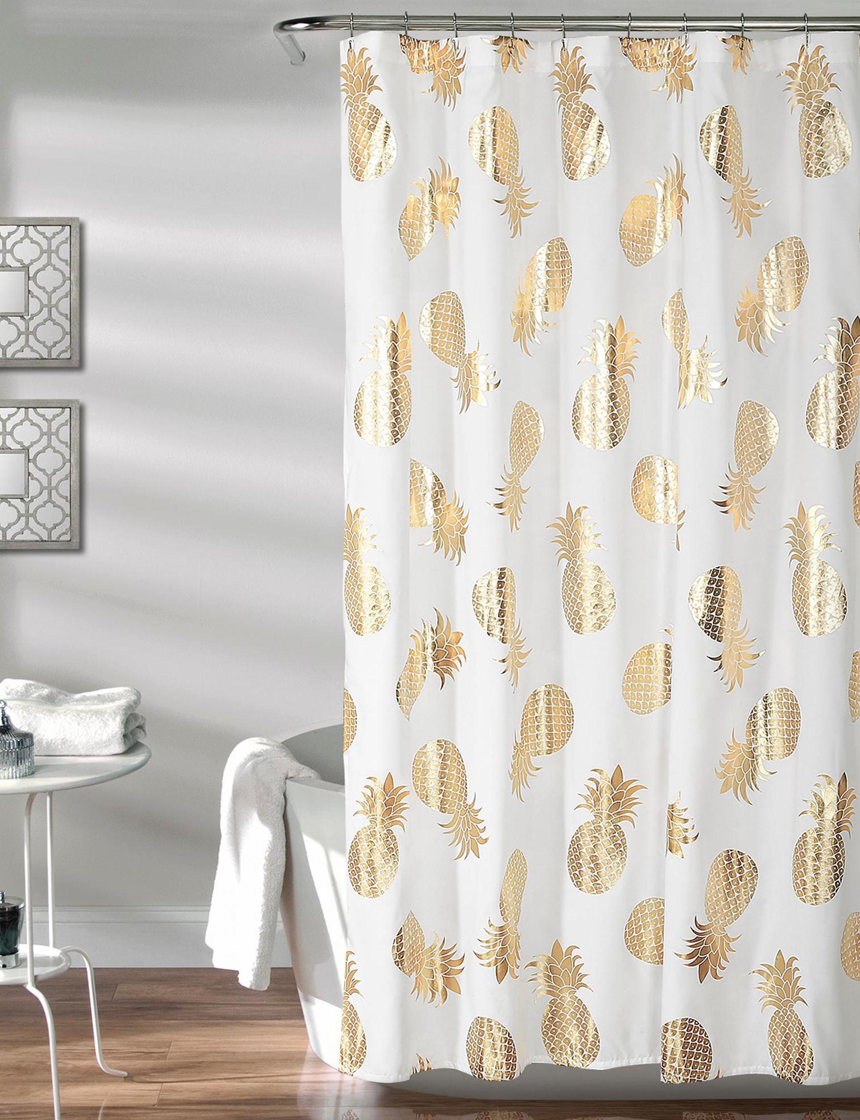 Lush Decor White / Gold Shower Curtains & Hooks