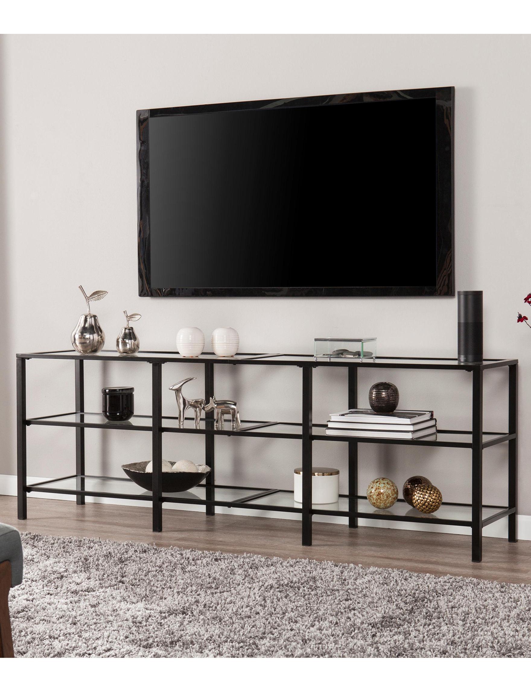 Southern Enterprises Black TV Stands & Entertainment Centers Game Room Living Room Furniture