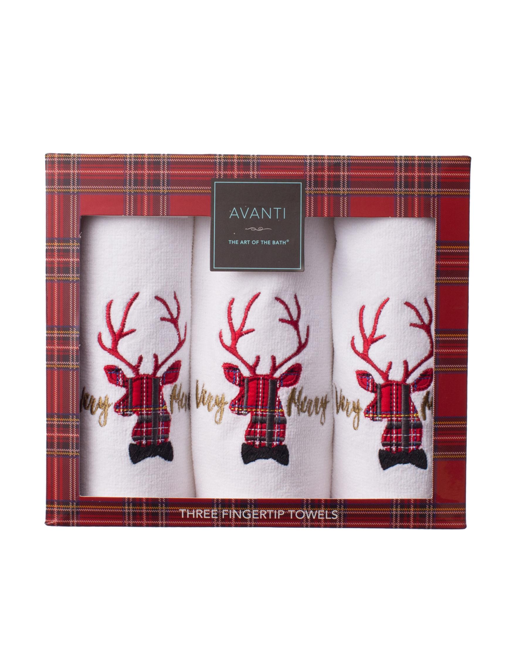 Avanti White / Red Fingertip Towels Towels