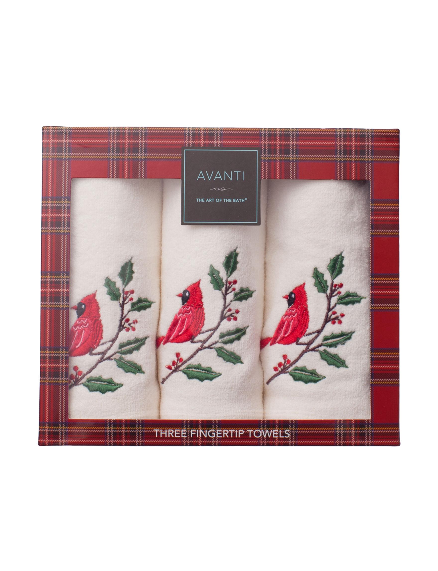 Avanti White / Red Fingertip Towels Towel Sets Towels