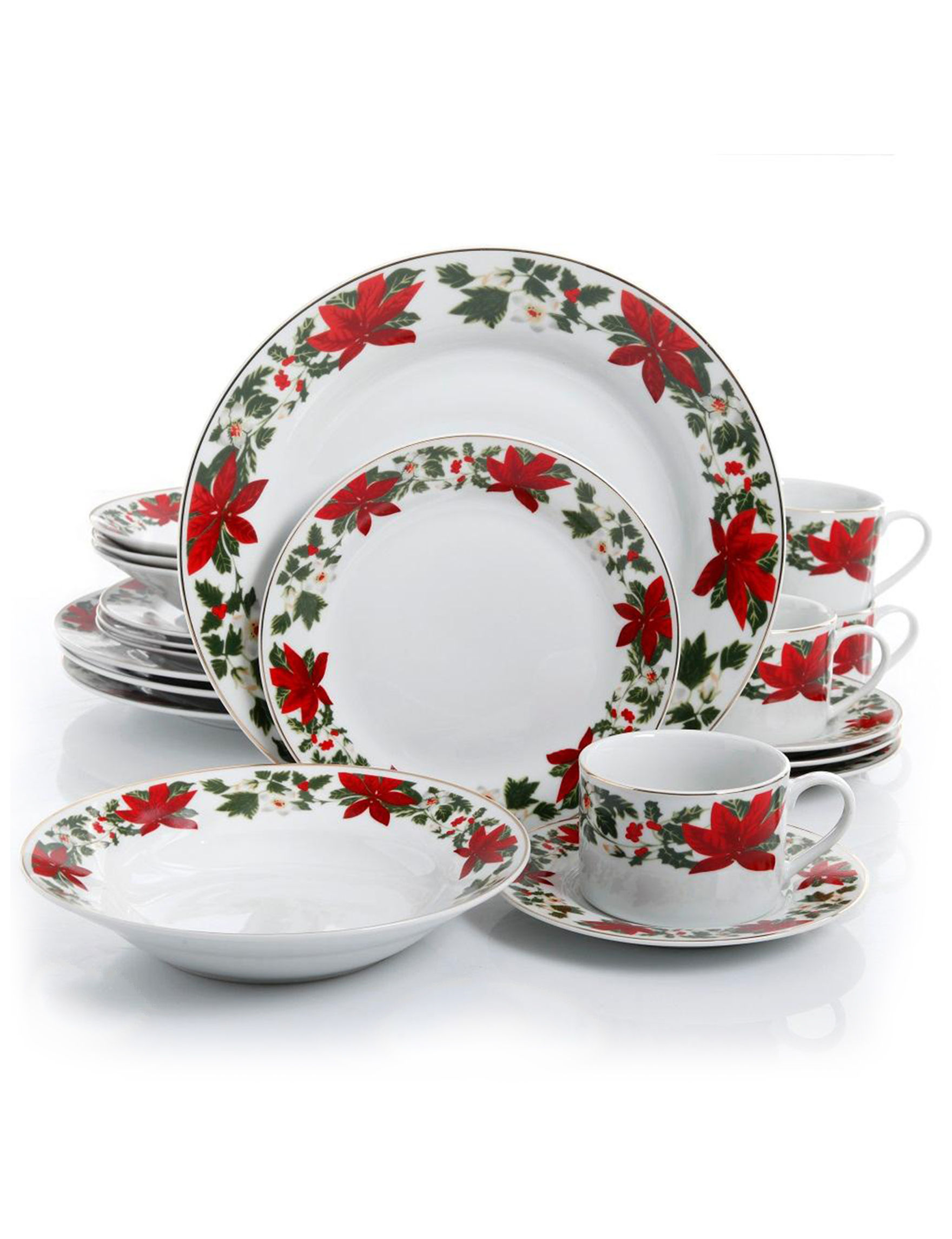poinsettia holiday dinnerware set closeout stage stores - Cheap Christmas Dinnerware Sets