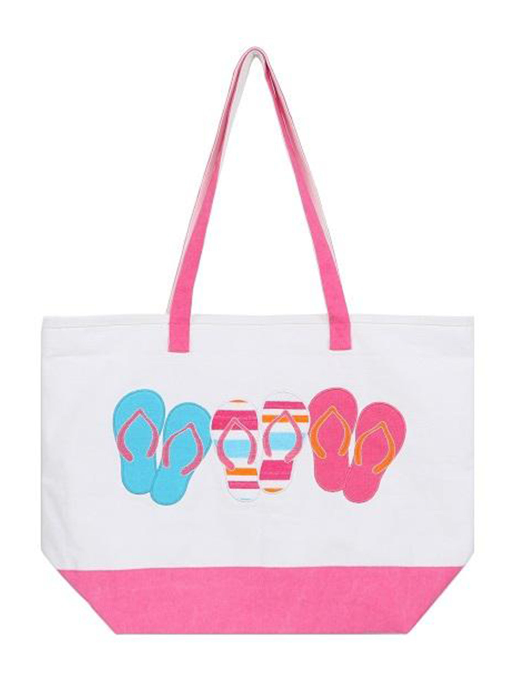 Dennis East White / Pink Travel Totes