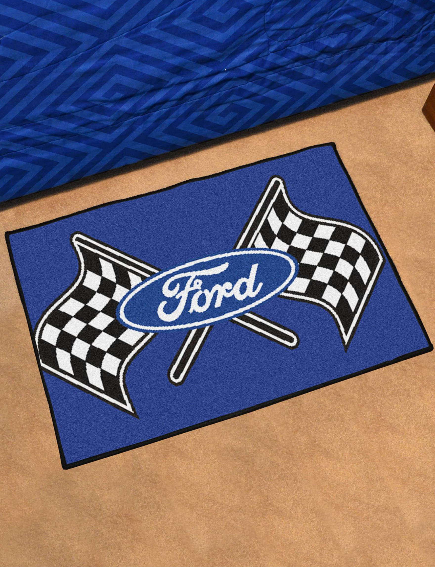 Fanmats Blue / White / Black Accent Rugs Rugs