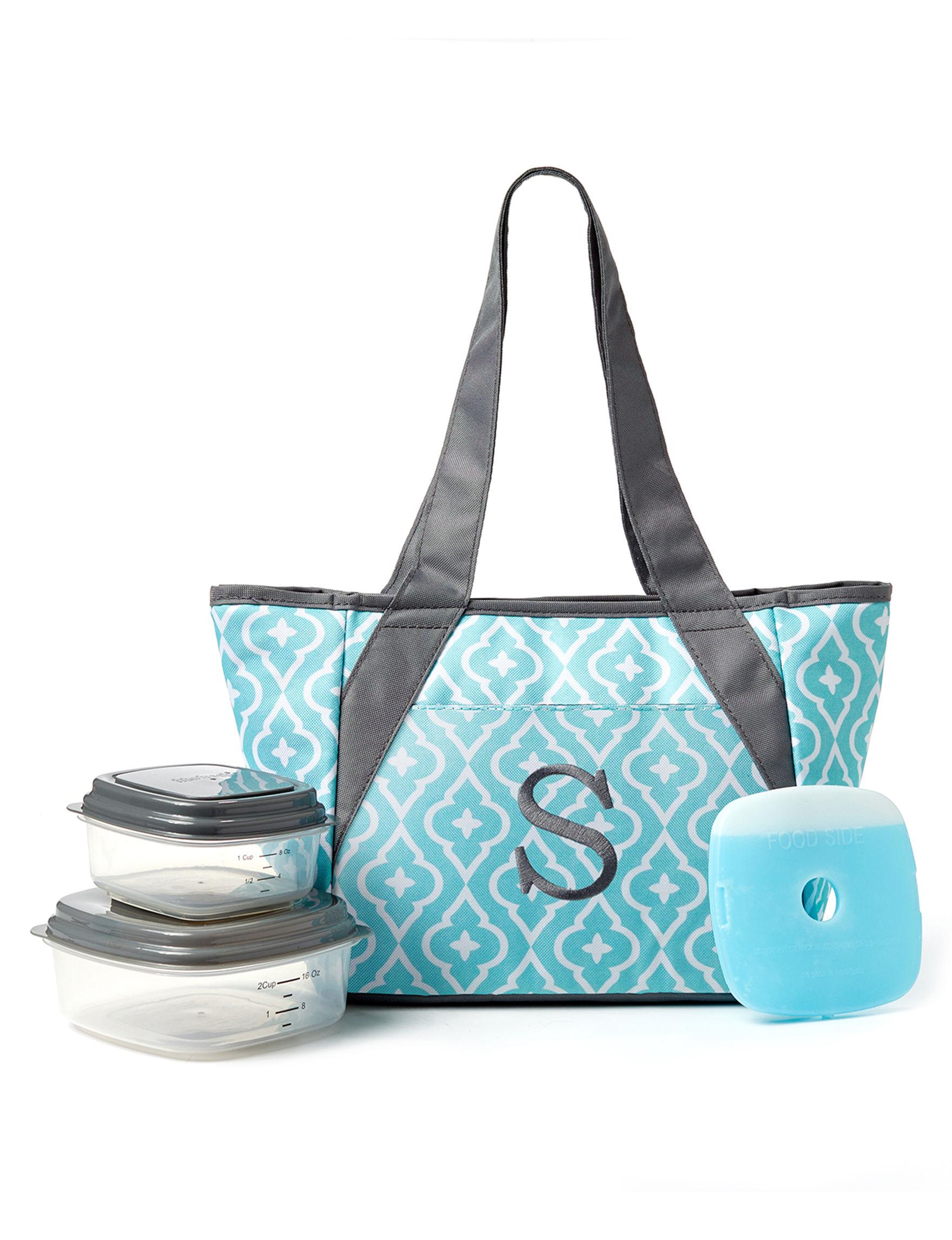 Fit & Fresh Blue Lunch Boxes & Bags Monogram Kitchen Storage & Organization
