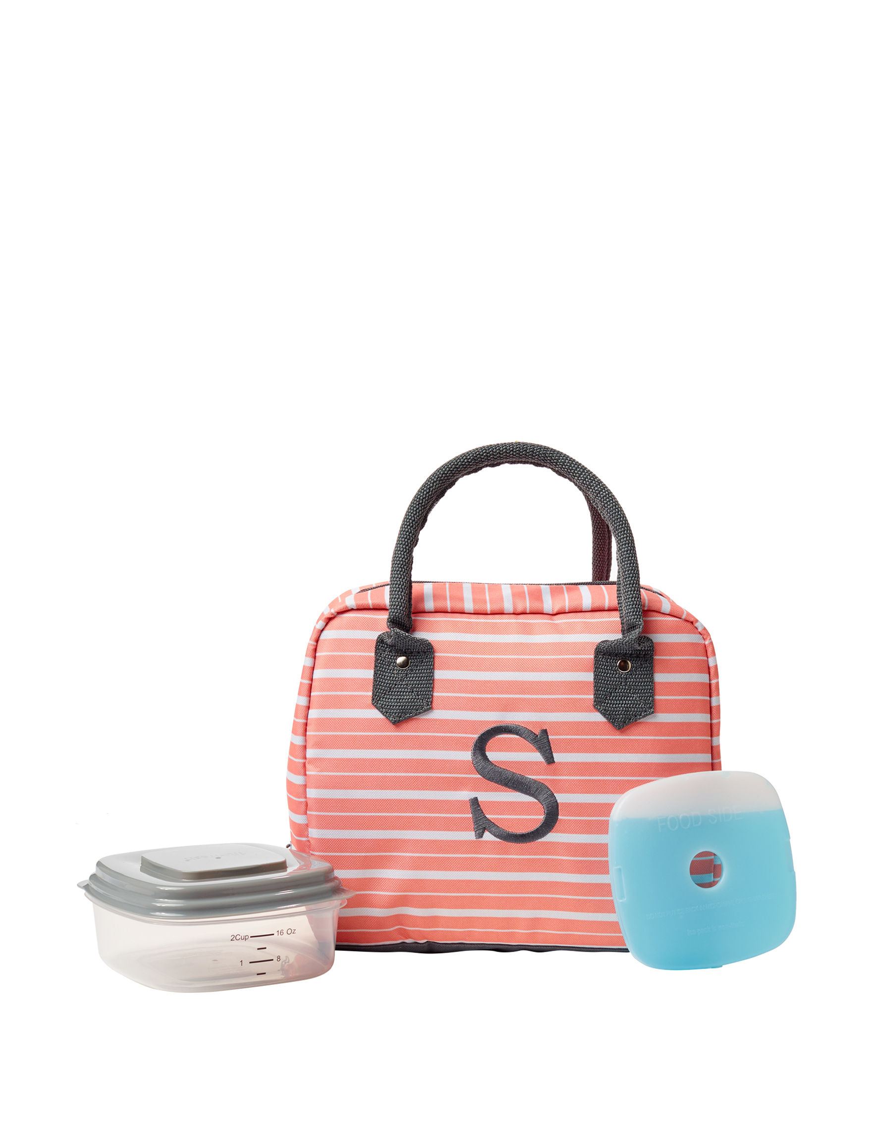 Fit & Fresh Peach Lunch Boxes & Bags Monogram Kitchen Storage & Organization