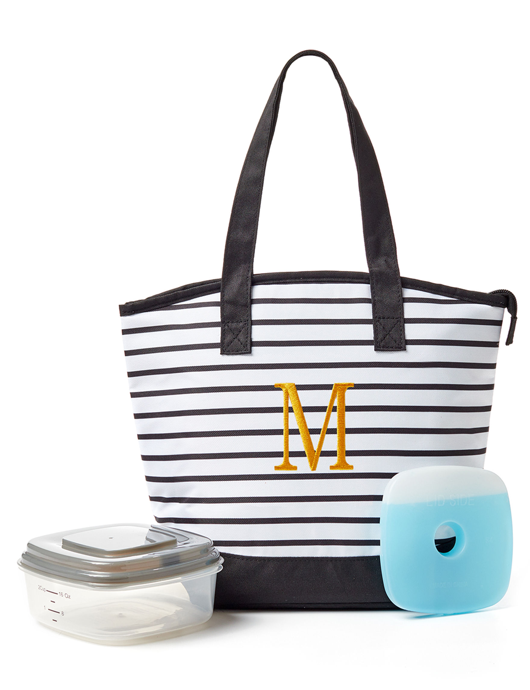Fit & Fresh White / Black Lunch Boxes & Bags Monogram Kitchen Storage & Organization
