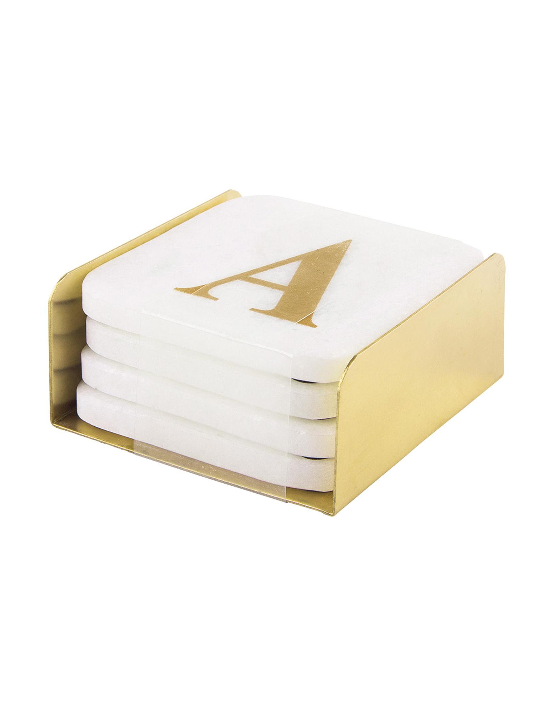 Home Essentials White / Gold Coasters Monogram