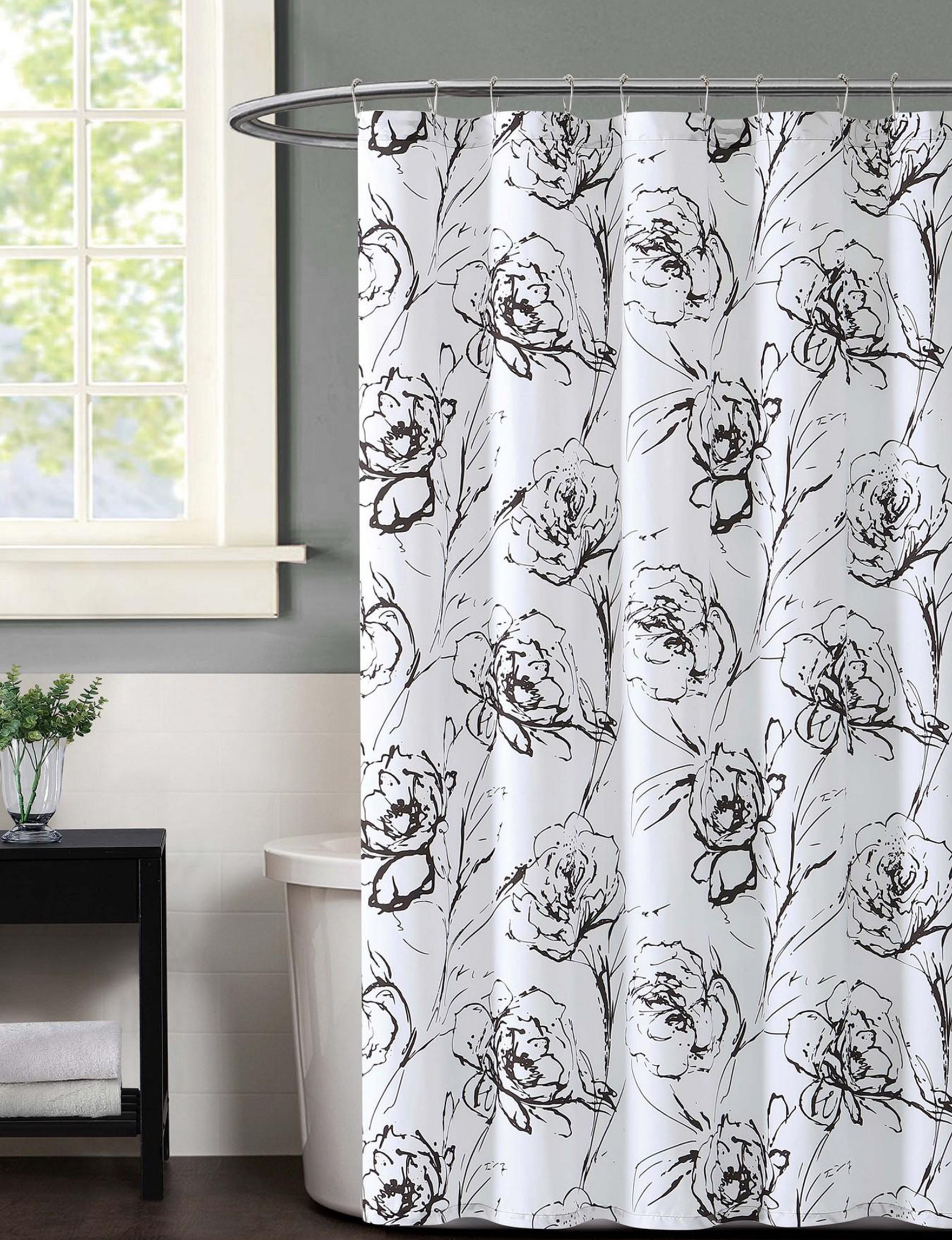 Christian Siriano New York Grapic Floral Printed Shower Curtain ...
