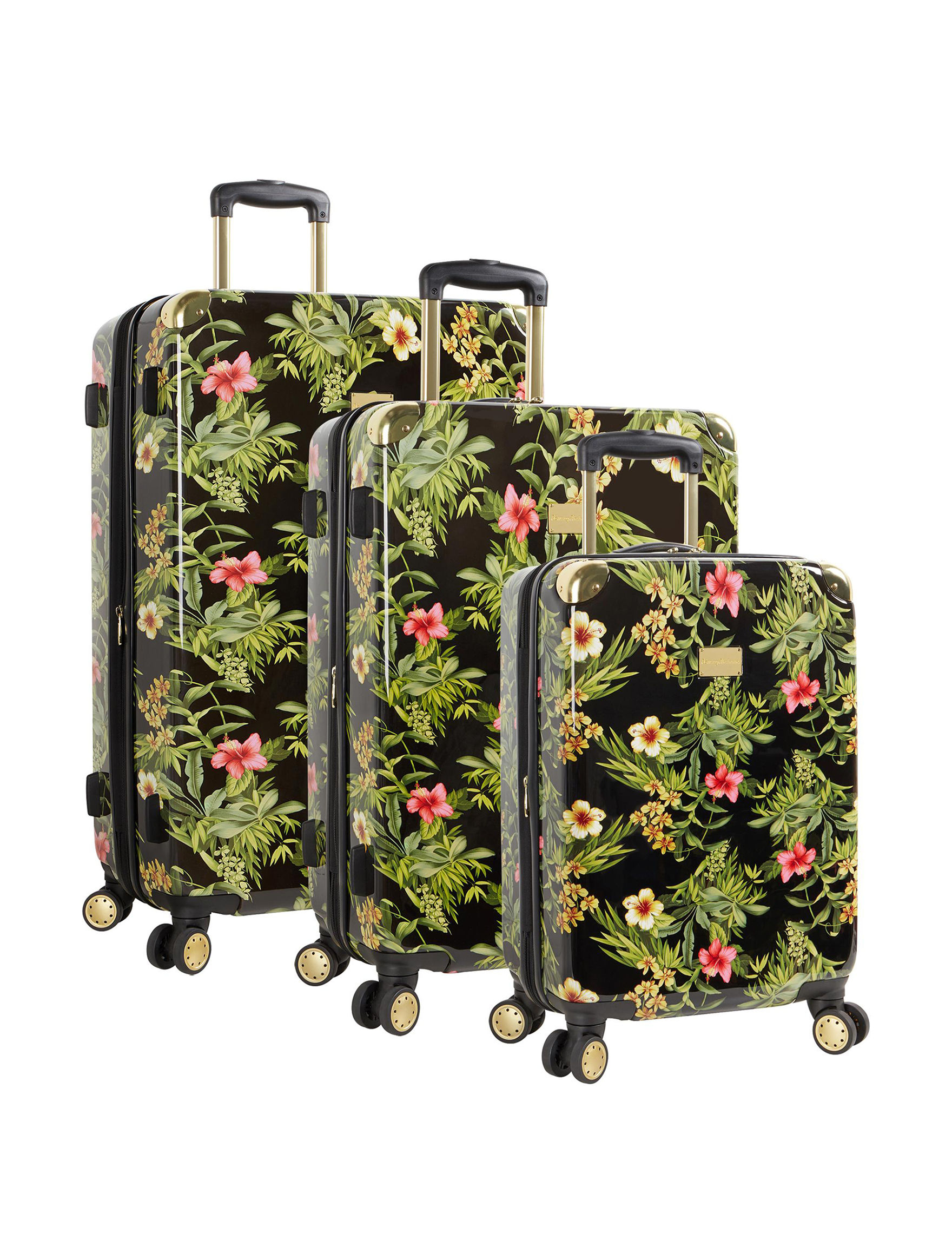 Tommy Bahama Black Floral Luggage Sets Upright Spinners