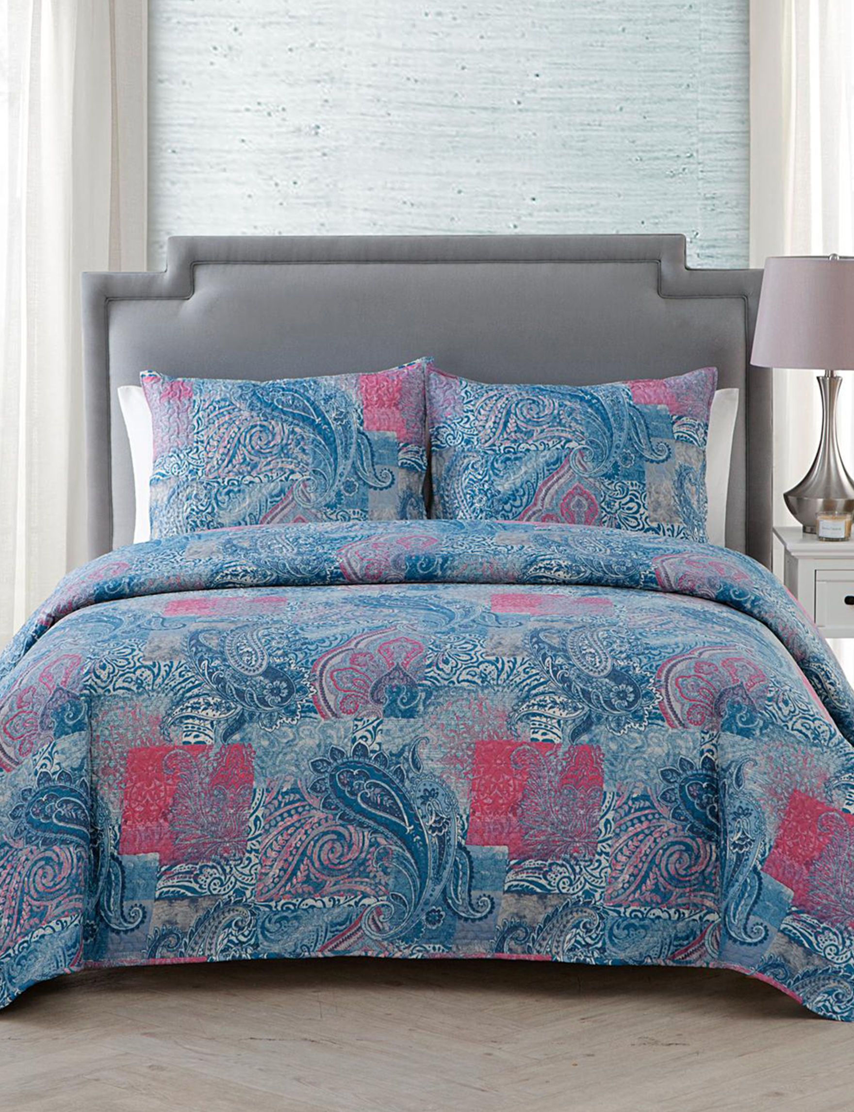 VCNY Home Blue Multi Quilts & Quilt Sets