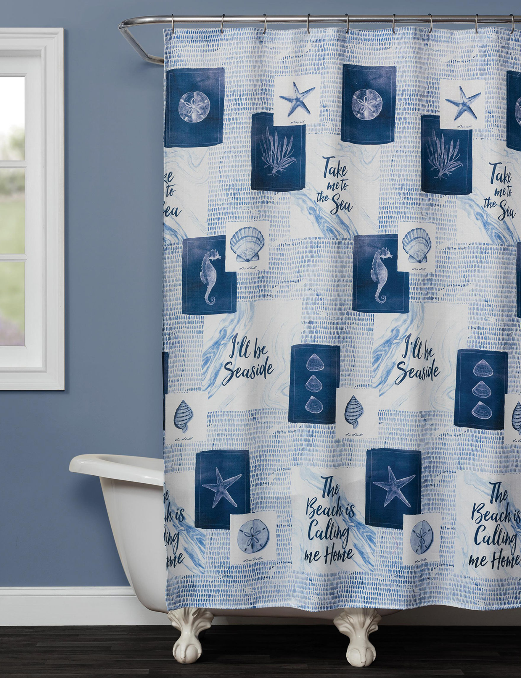 Saturday Knight Blue Shower Curtains & Hooks