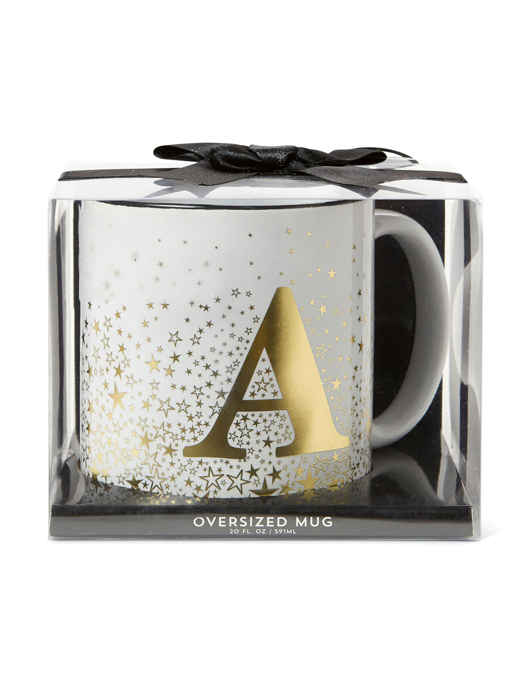 Tri Coastal White / Gold Monogram Mugs Drinkware