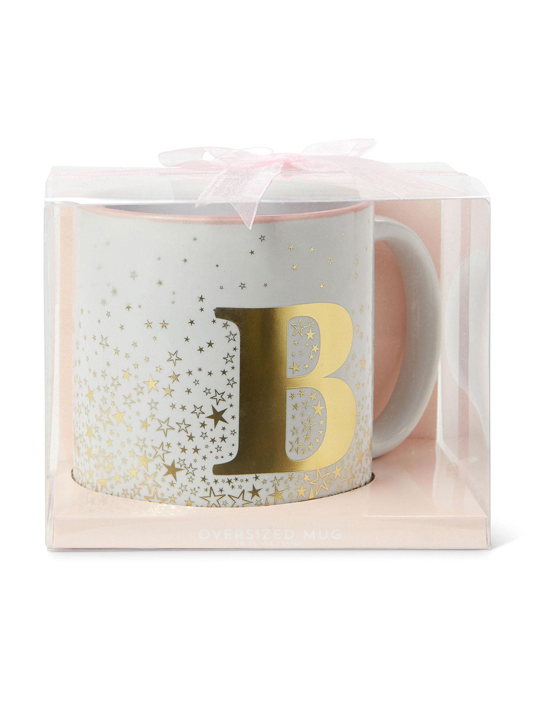 Tri Coastal White / Gold Monogram Mugs Drinkware