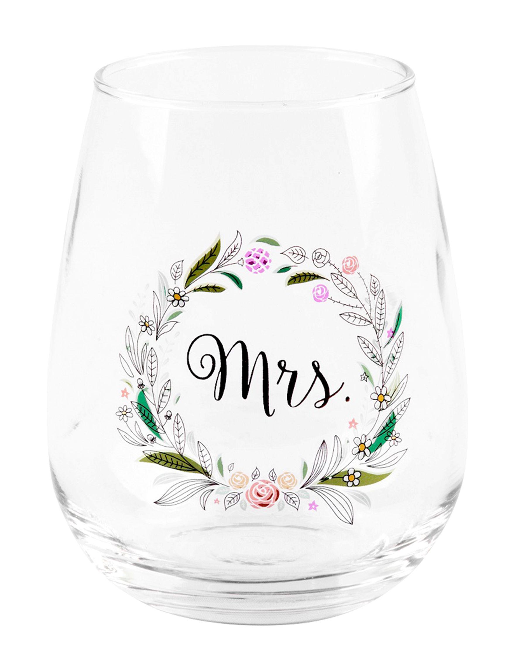 Home Essentials White / Silver Wine Glasses Drinkware