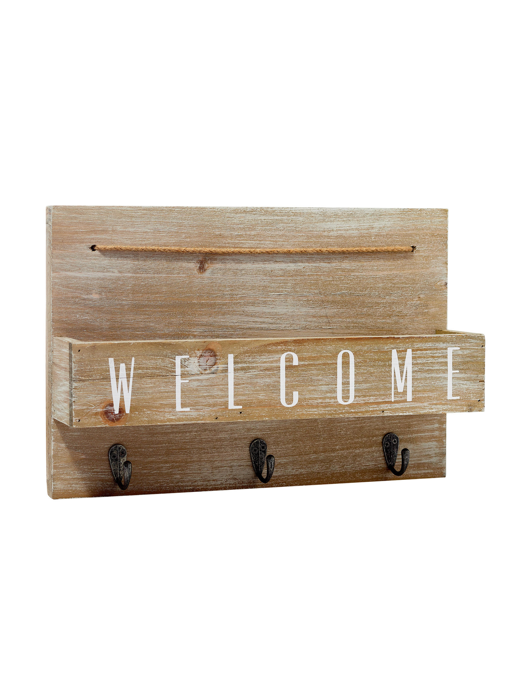 New View Brown Accent Shelves & Wall Hooks Wall Decor