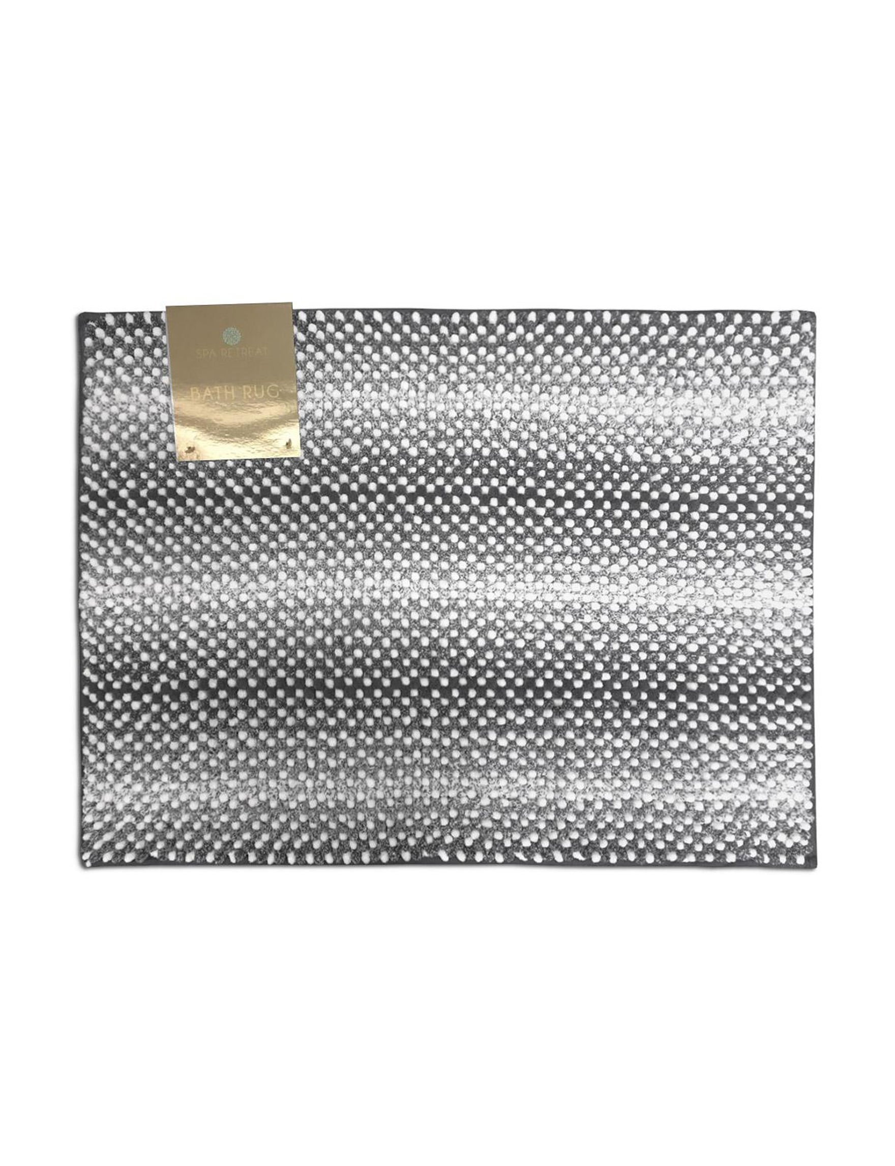 Spa Retreat Grey Stripe Bath Rugs & Mats