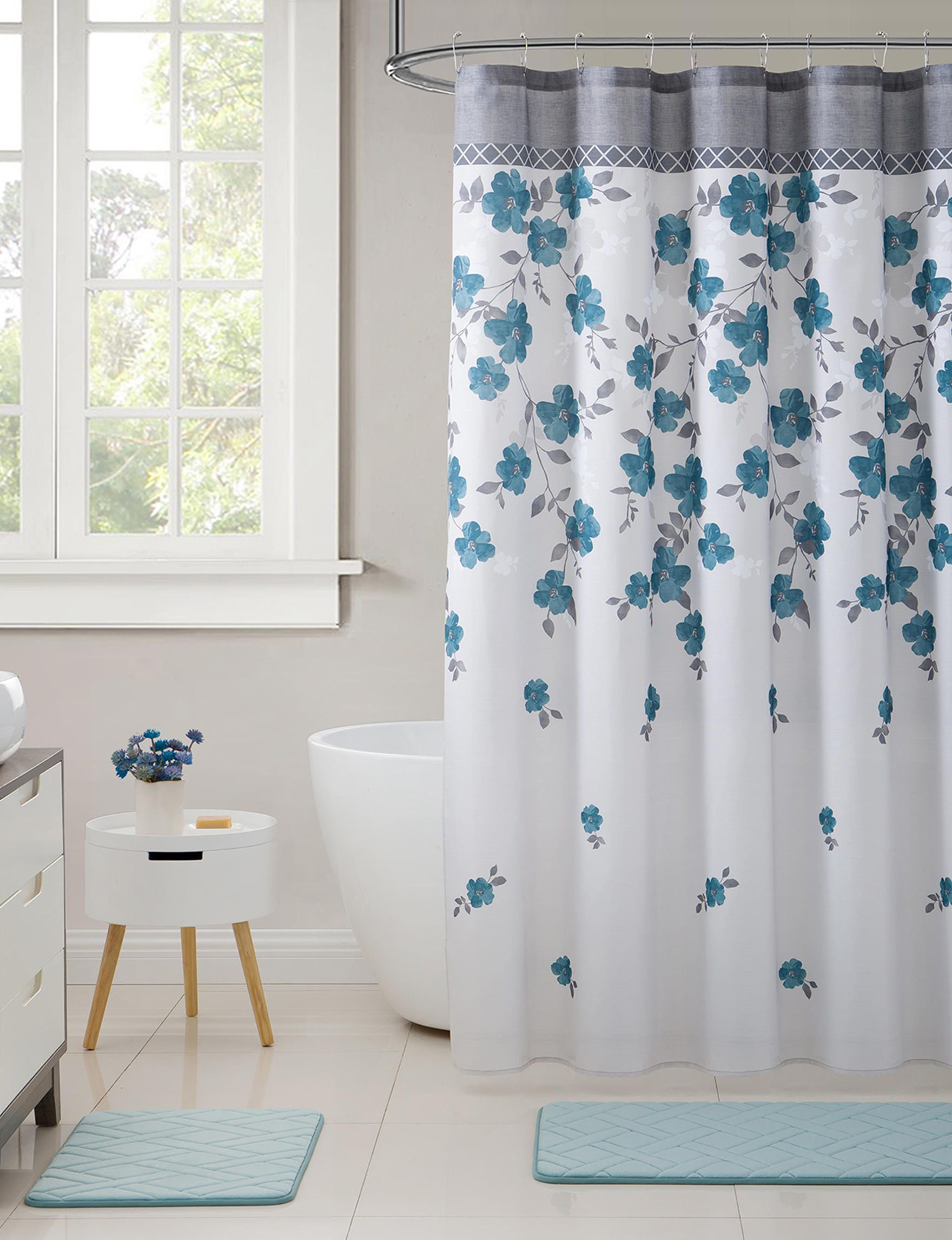 VCNY Home Blue Multi Bath Accessories Bath Rugs & Mats Shower Curtains & Hooks
