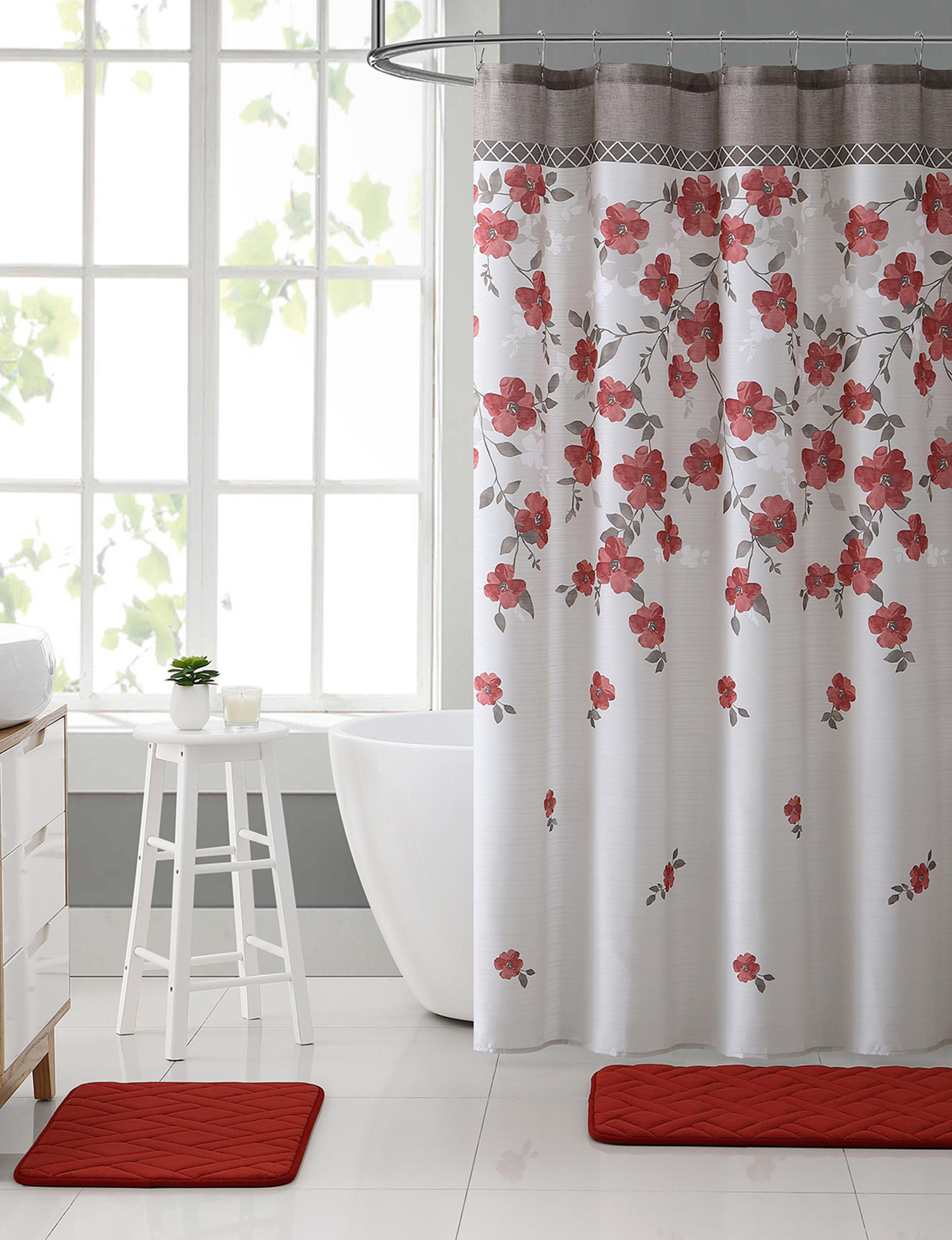 VCNY Home Red Multi Bath Accessories Bath Rugs & Mats Shower Curtains & Hooks