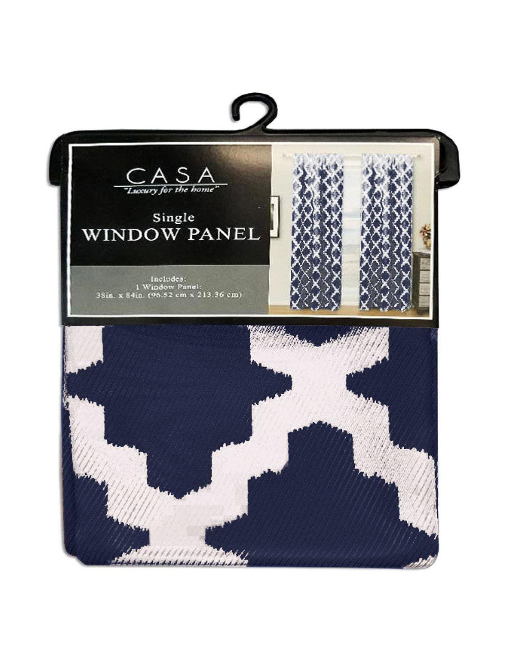 Casa Decor Navy / White Curtains & Drapes Window Treatments