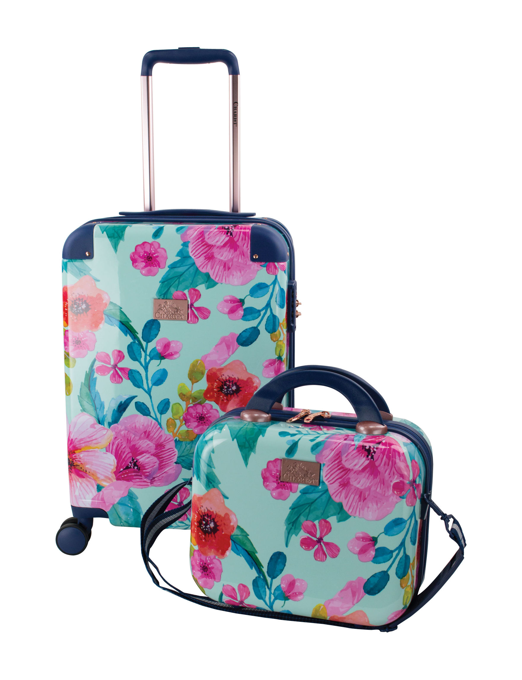 Chariot Travelware Blue Floral Hardside Carry On Luggage