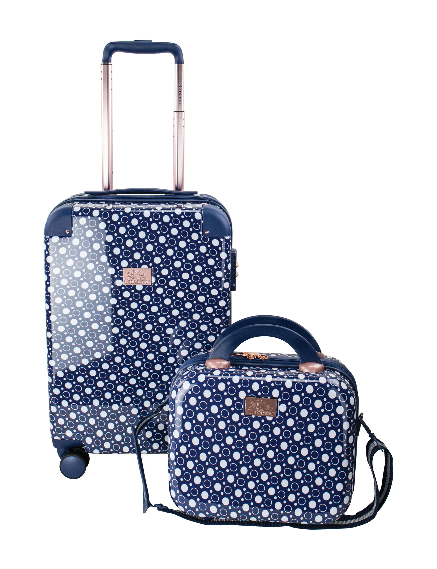 Chariot Travelware Blue / Dots Hardside Upright Spinners
