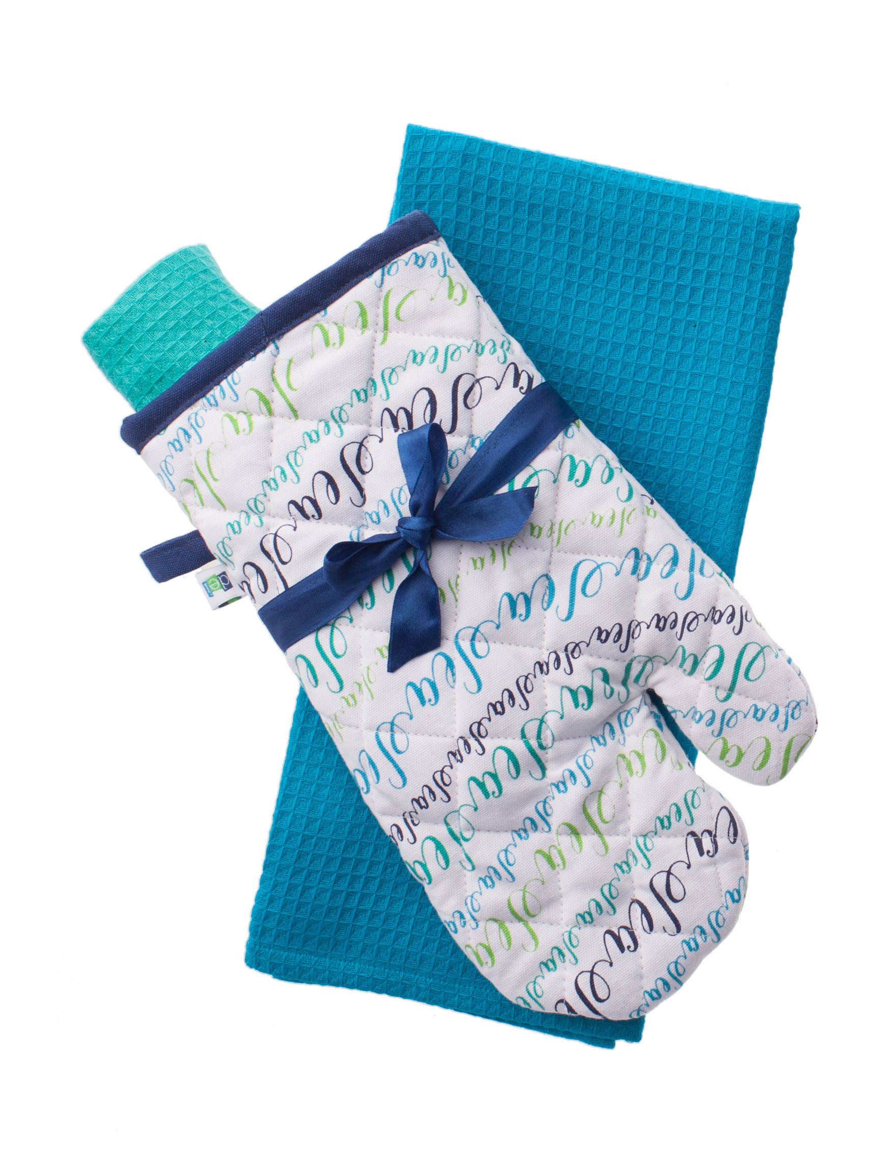 Dennis East White / Blue Dish Towels Oven Mitts & Pot Holders Kitchen Linens