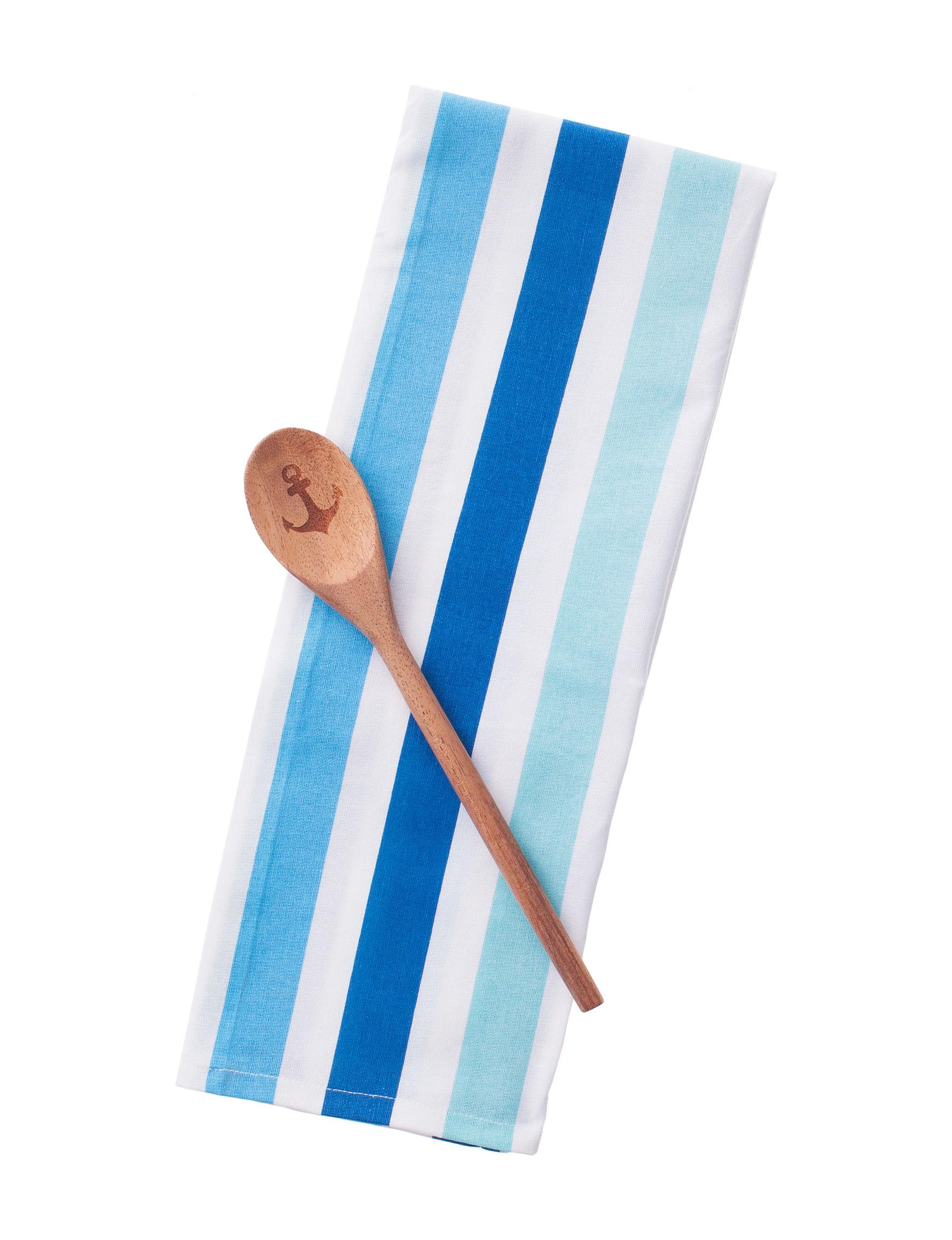 Dennis East White / Blue Dish Towels Kitchen Utensils Kitchen Linens Prep & Tools