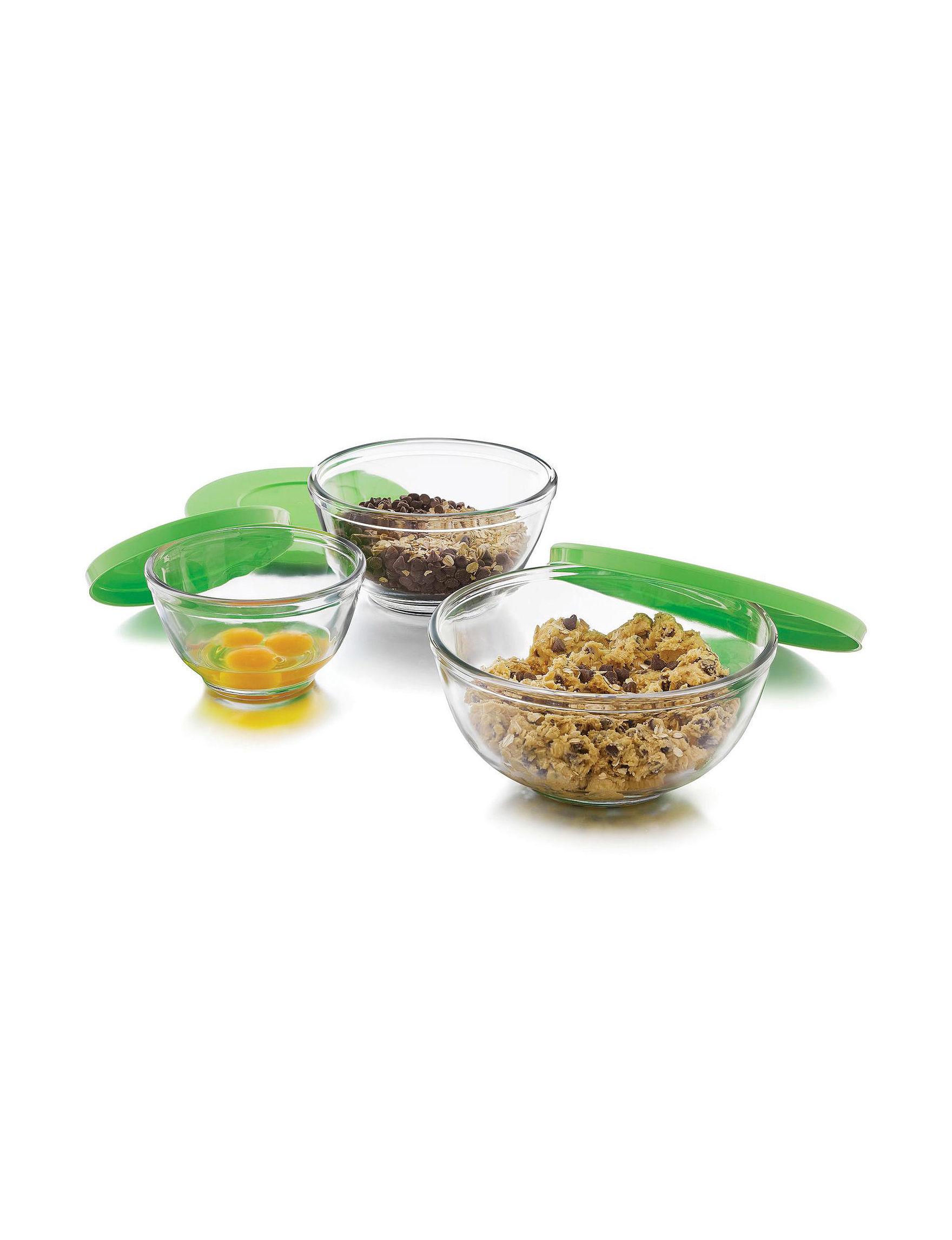 Libbey Glassware White / Green Mixing Bowls Prep & Tools