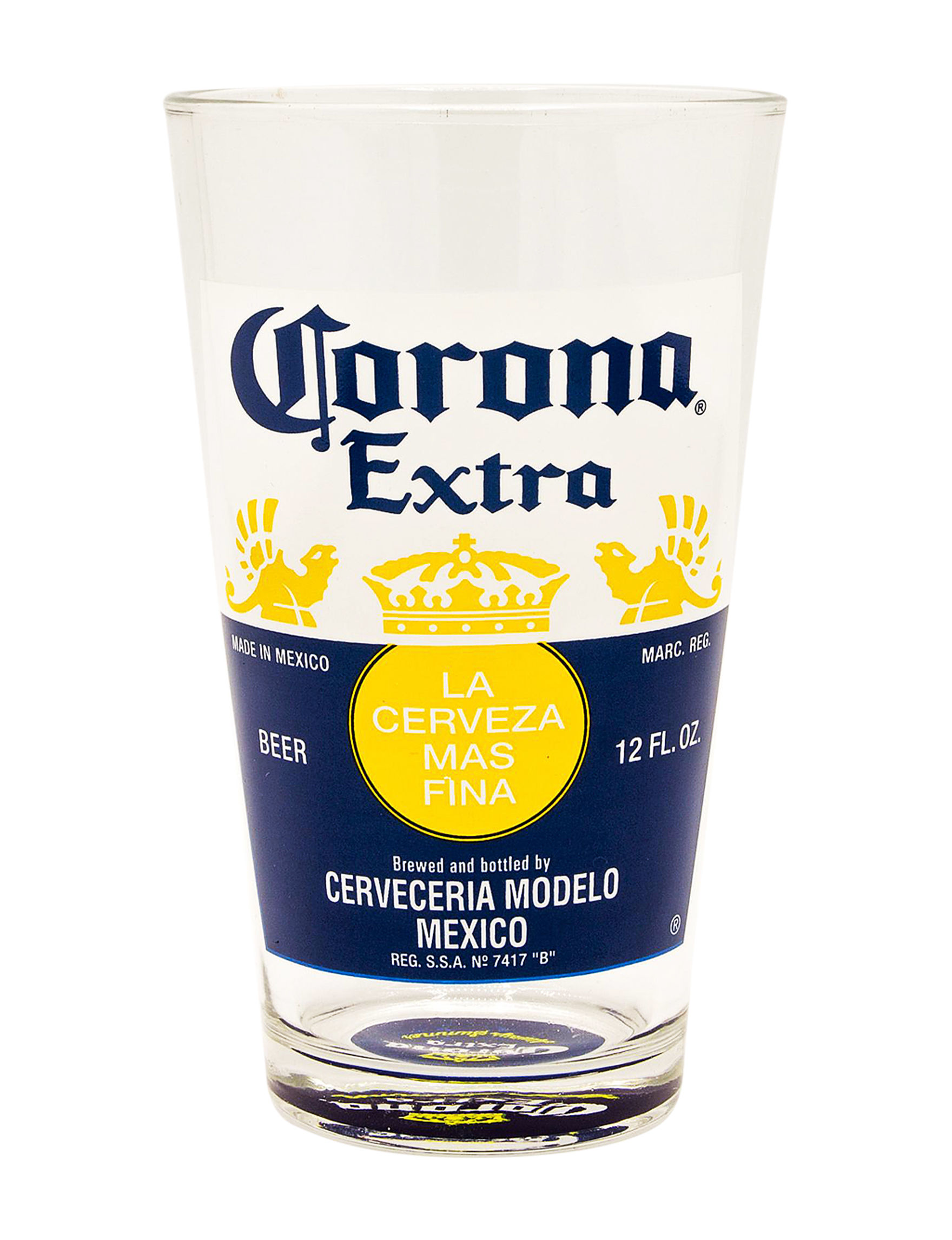 Corona Yellow / Navy Beer Glasses Drinkware Outdoor Entertaining
