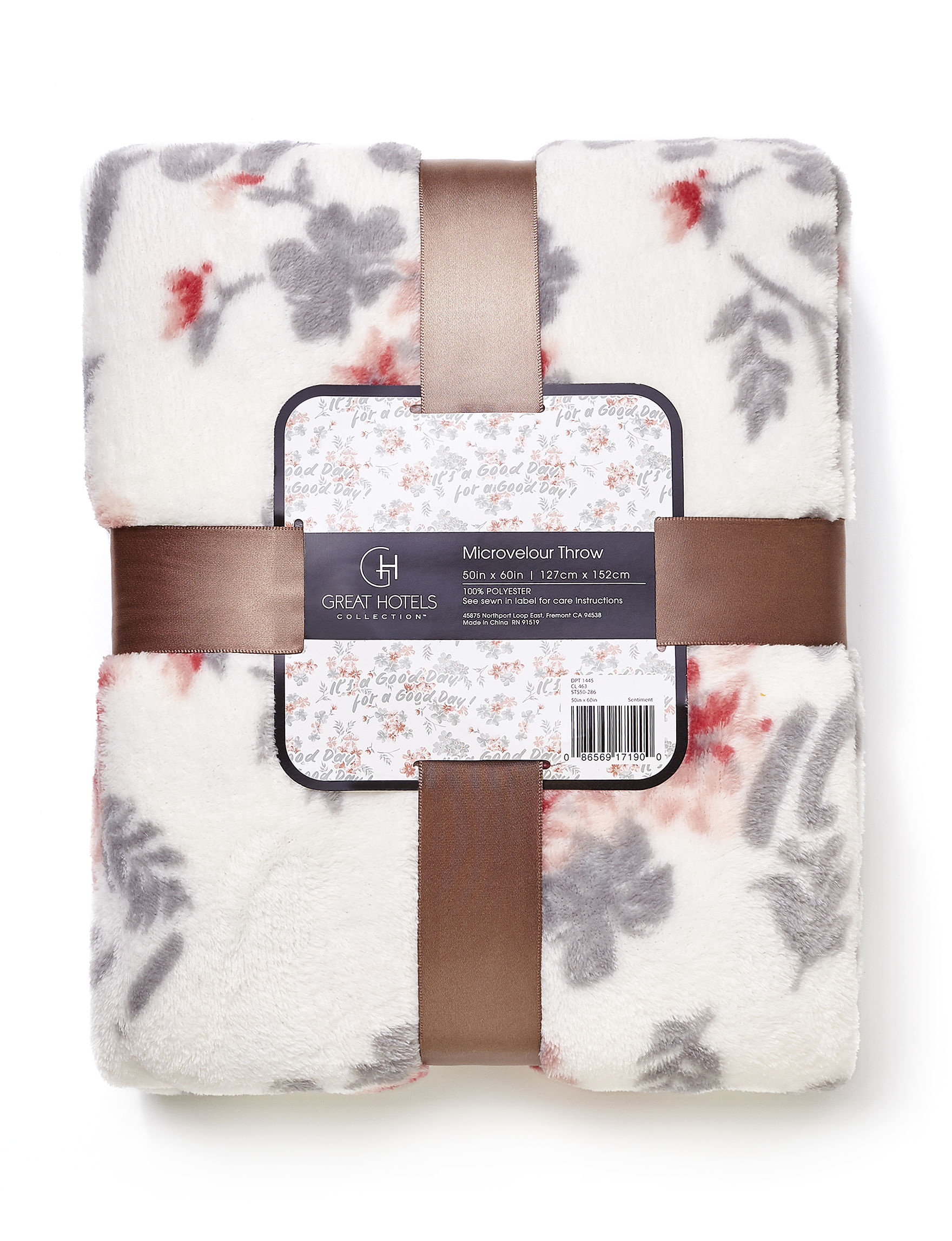 Great Hotels Collection White / Grey / Pink Floral Blankets & Throws