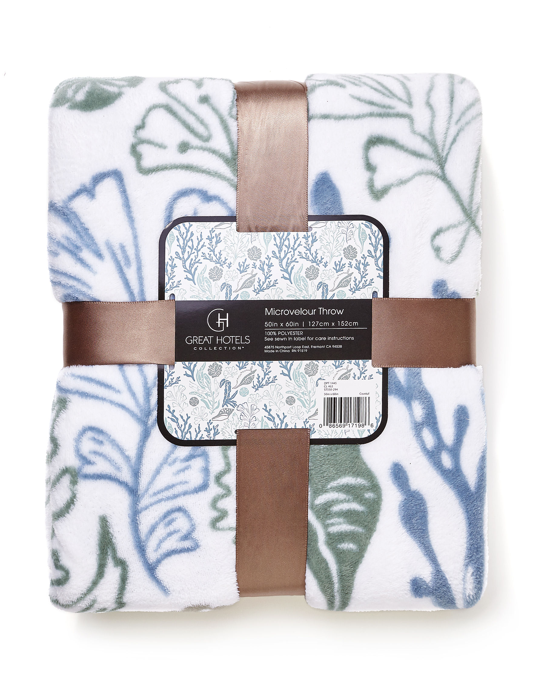 Great Hotels Collection White / Blue / Green Blankets & Throws